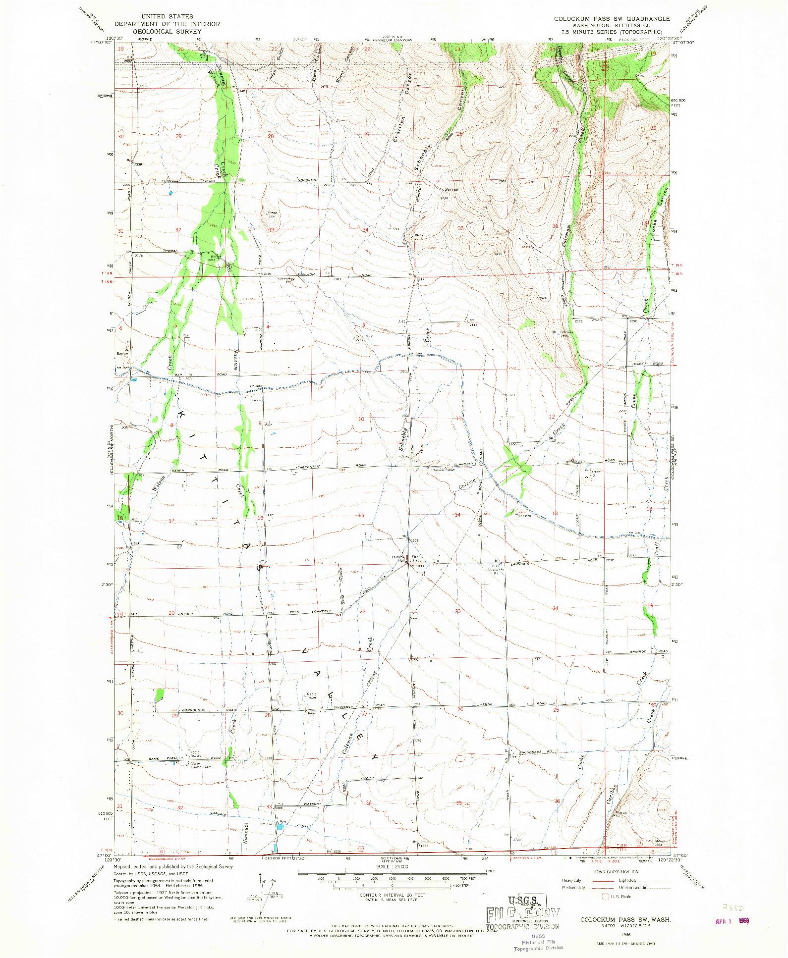 USGS 1:24000-SCALE QUADRANGLE FOR COLOCKUM PASS SW, WA 1966
