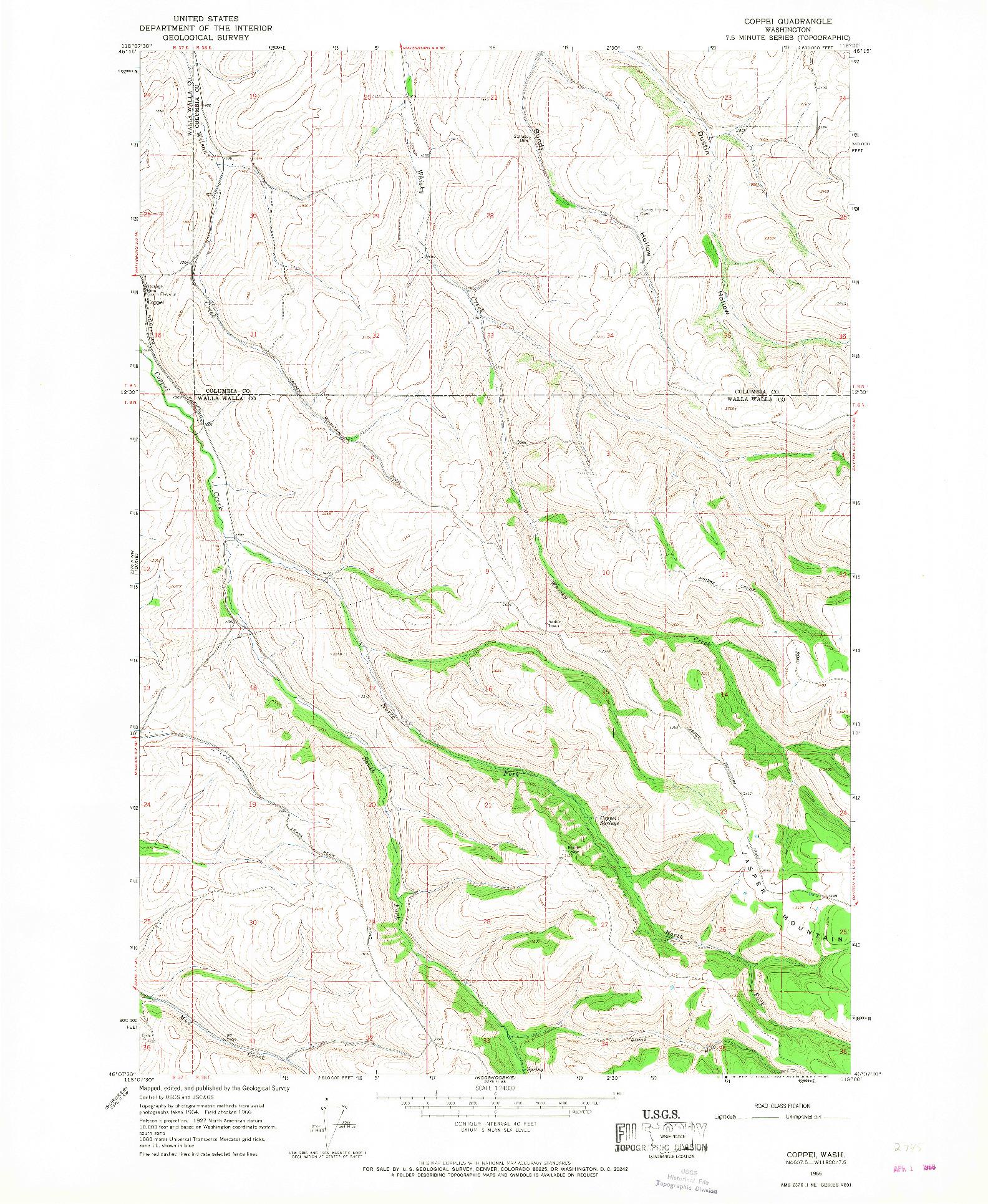 USGS 1:24000-SCALE QUADRANGLE FOR COPPEI, WA 1966