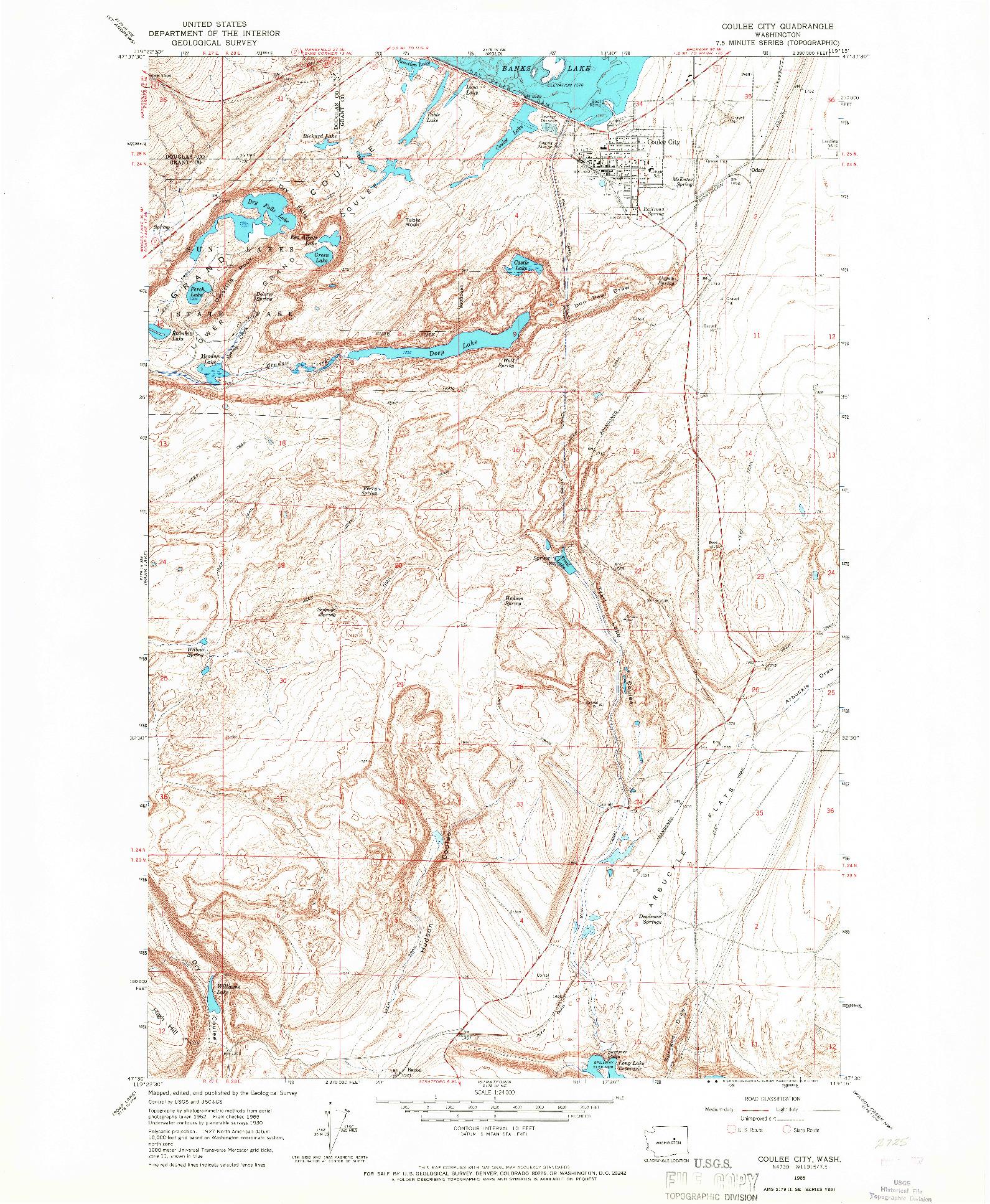 USGS 1:24000-SCALE QUADRANGLE FOR COULEE CITY, WA 1965