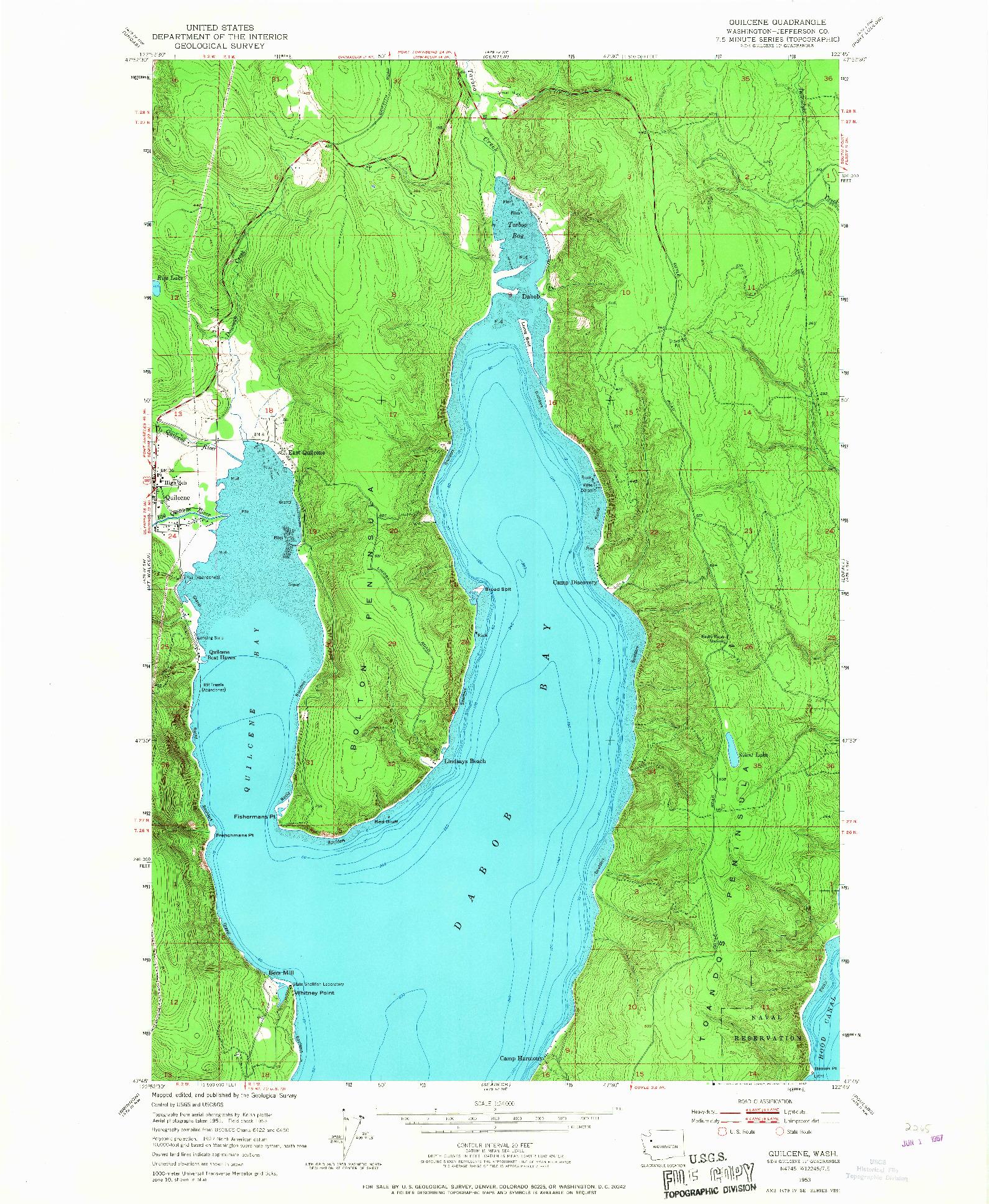 USGS 1:24000-SCALE QUADRANGLE FOR QUILCENE, WA 1953