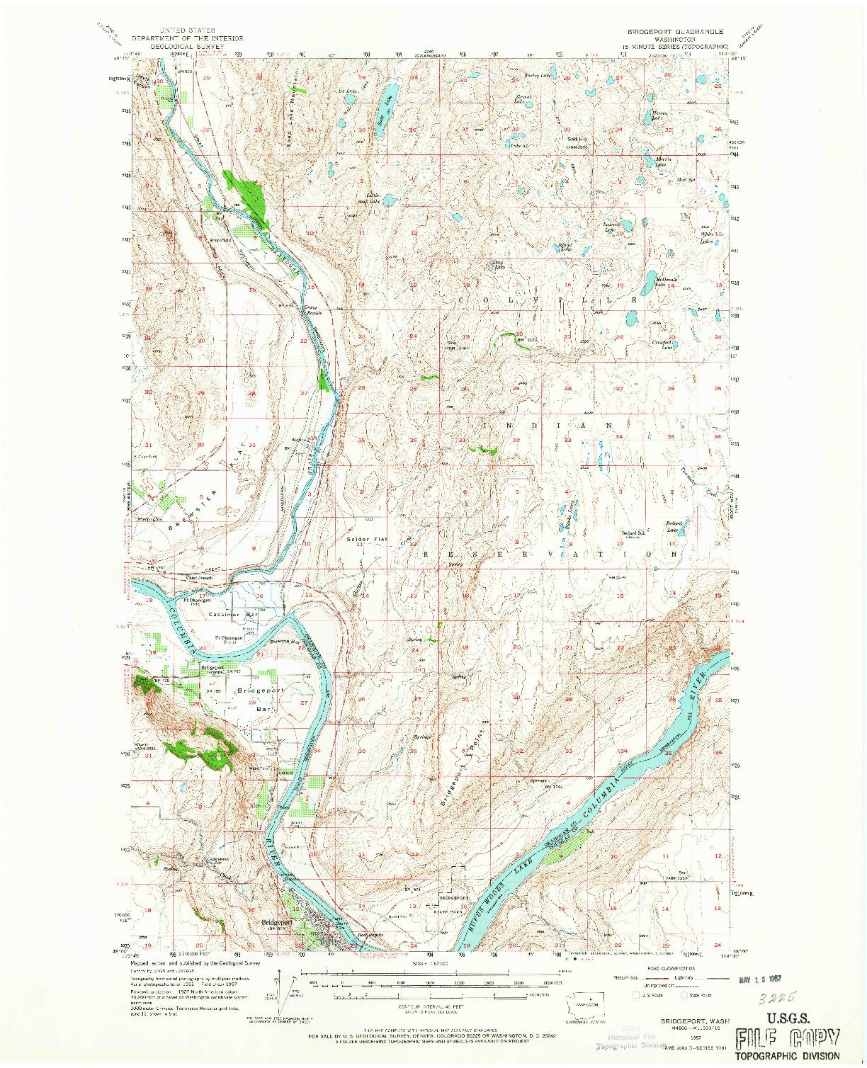 USGS 1:62500-SCALE QUADRANGLE FOR BRIDGEPORT, WA 1957