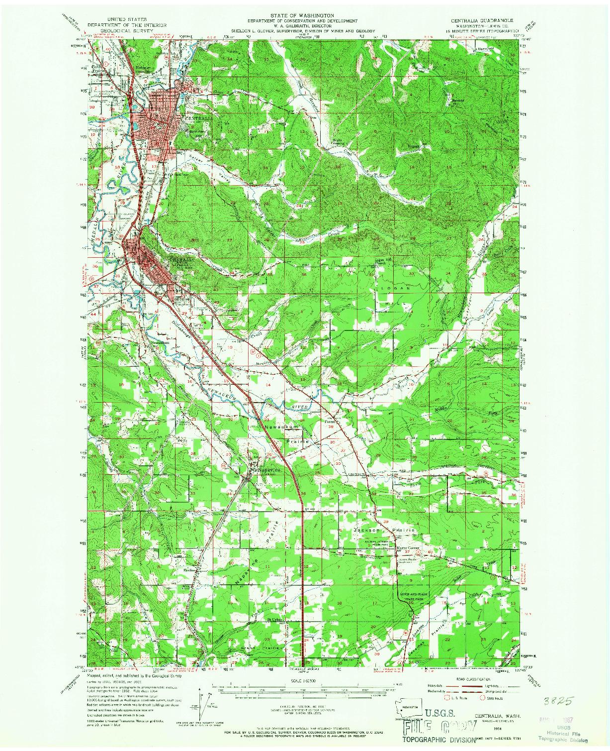 USGS 1:62500-SCALE QUADRANGLE FOR CENTRALIA, WA 1954
