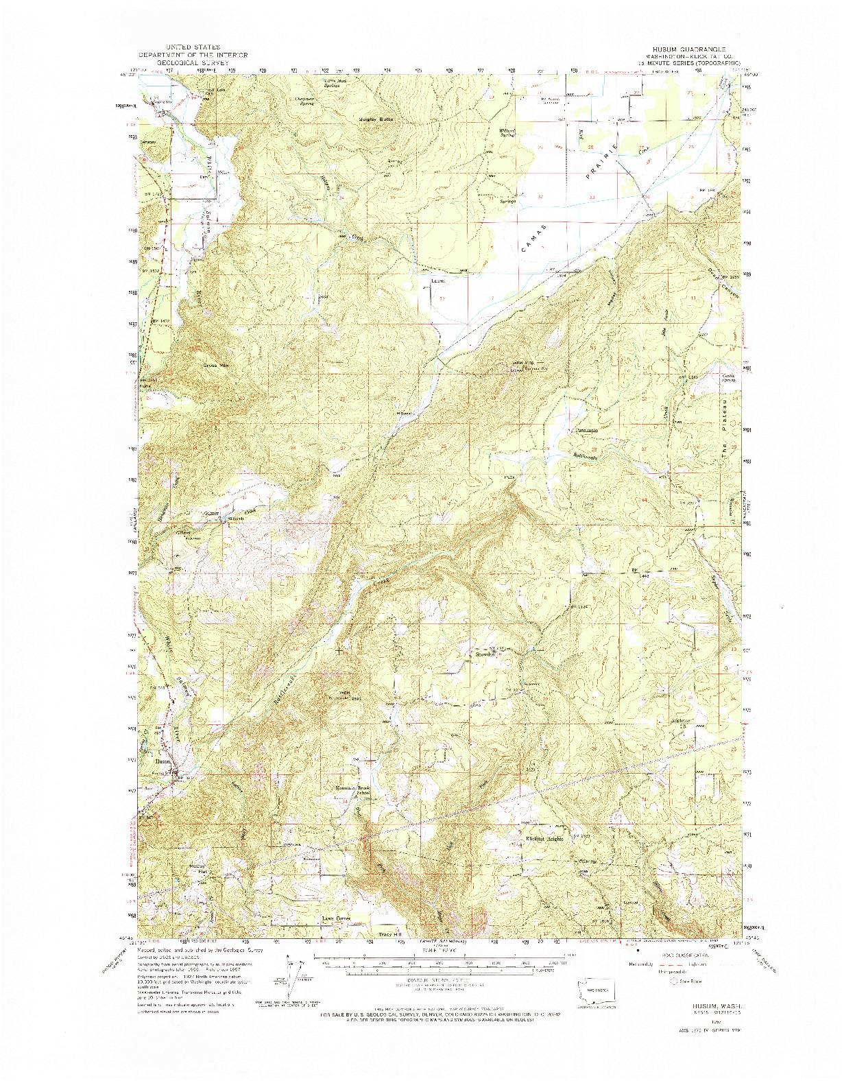 USGS 1:62500-SCALE QUADRANGLE FOR HUSUM, WA 1957