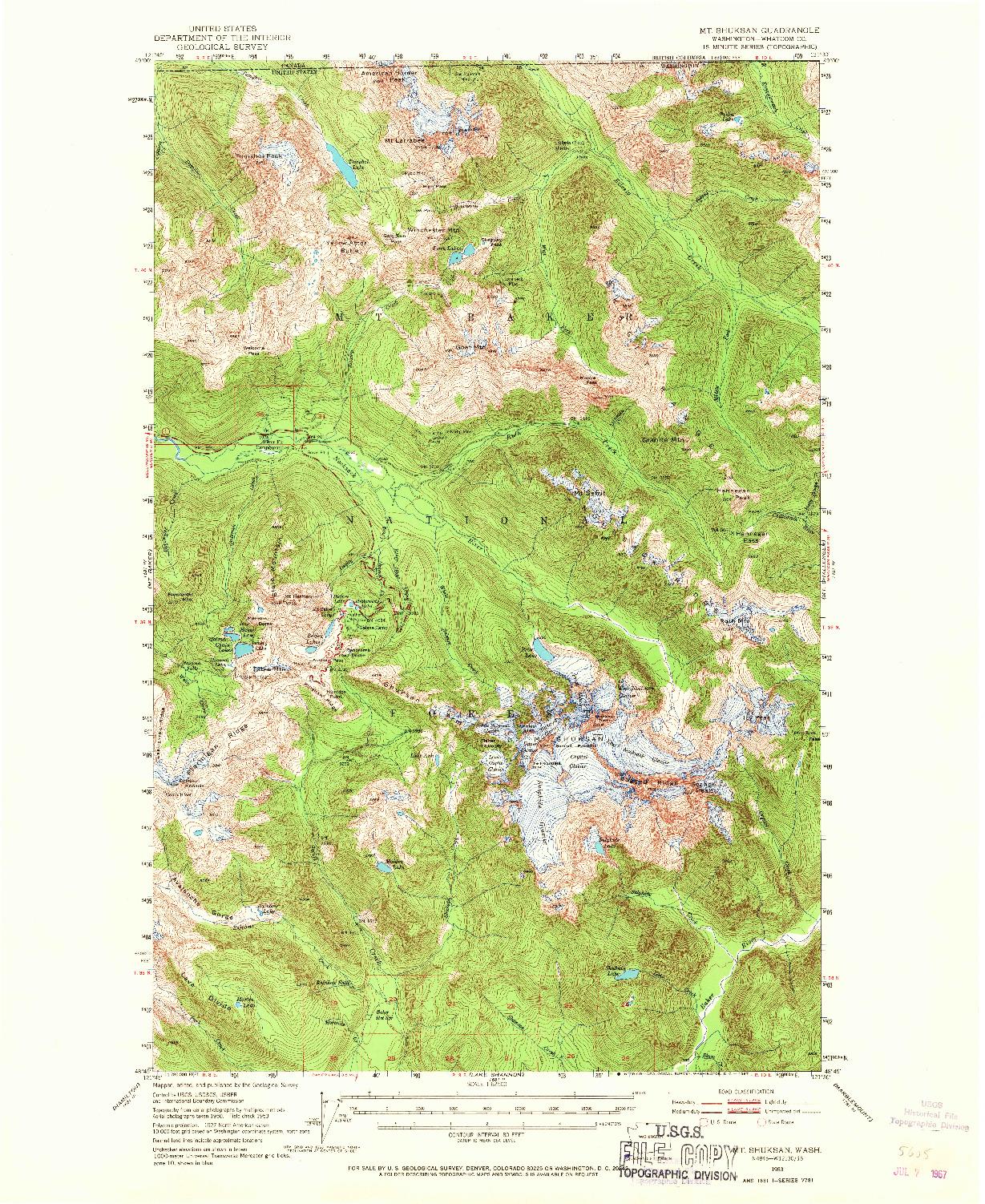 USGS 1:62500-SCALE QUADRANGLE FOR MT SHUKSAN, WA 1953