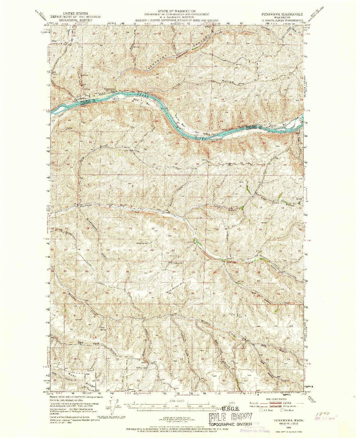 USGS 1:62500-SCALE QUADRANGLE FOR PENAWAWA, WA 1950