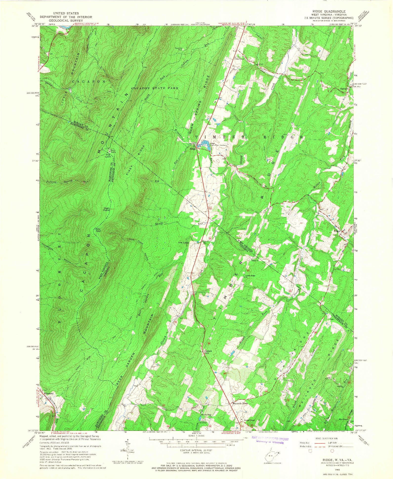 USGS 1:24000-SCALE QUADRANGLE FOR RIDGE, WV 1965