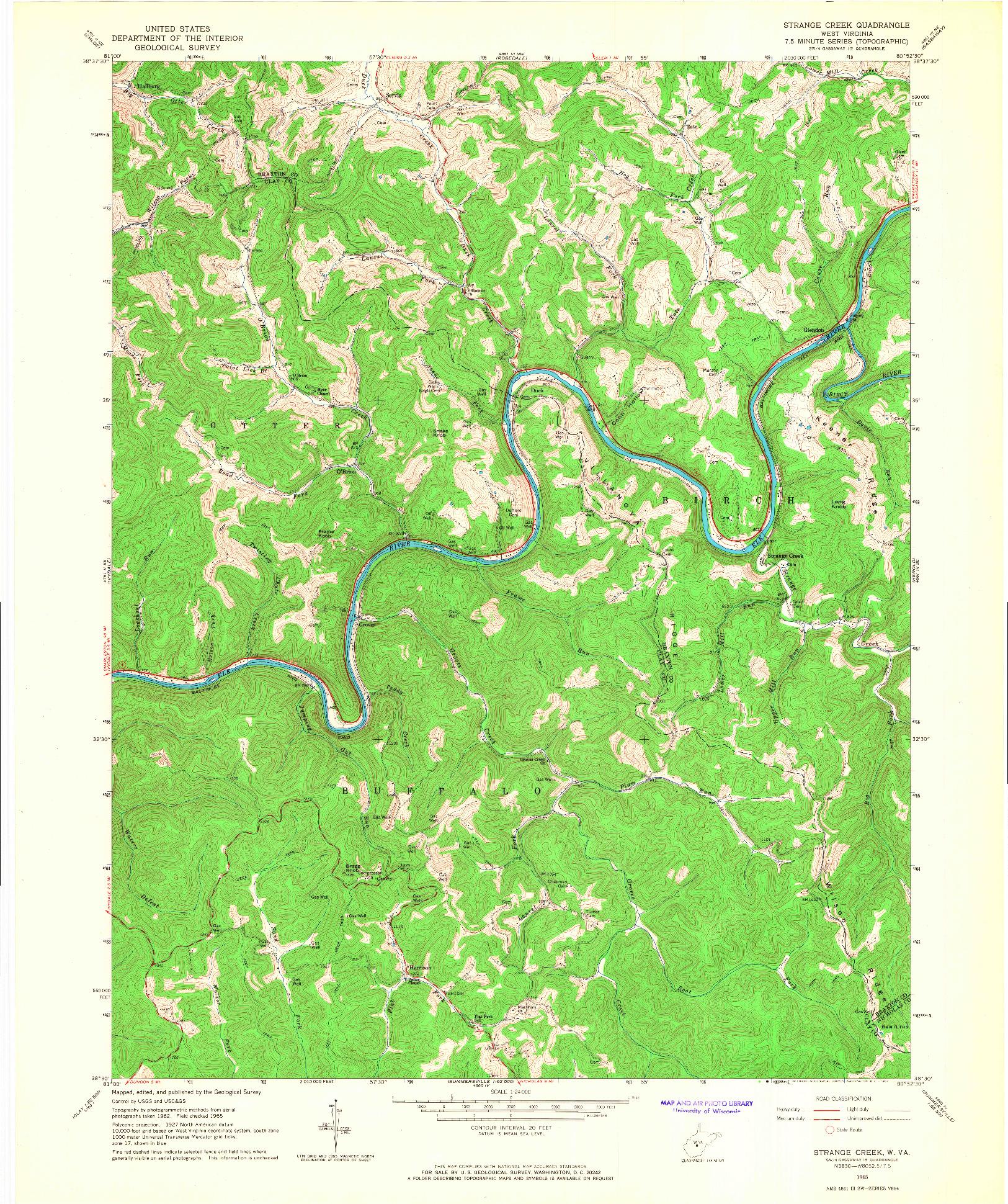 USGS 1:24000-SCALE QUADRANGLE FOR STRANGE CREEK, WV 1965