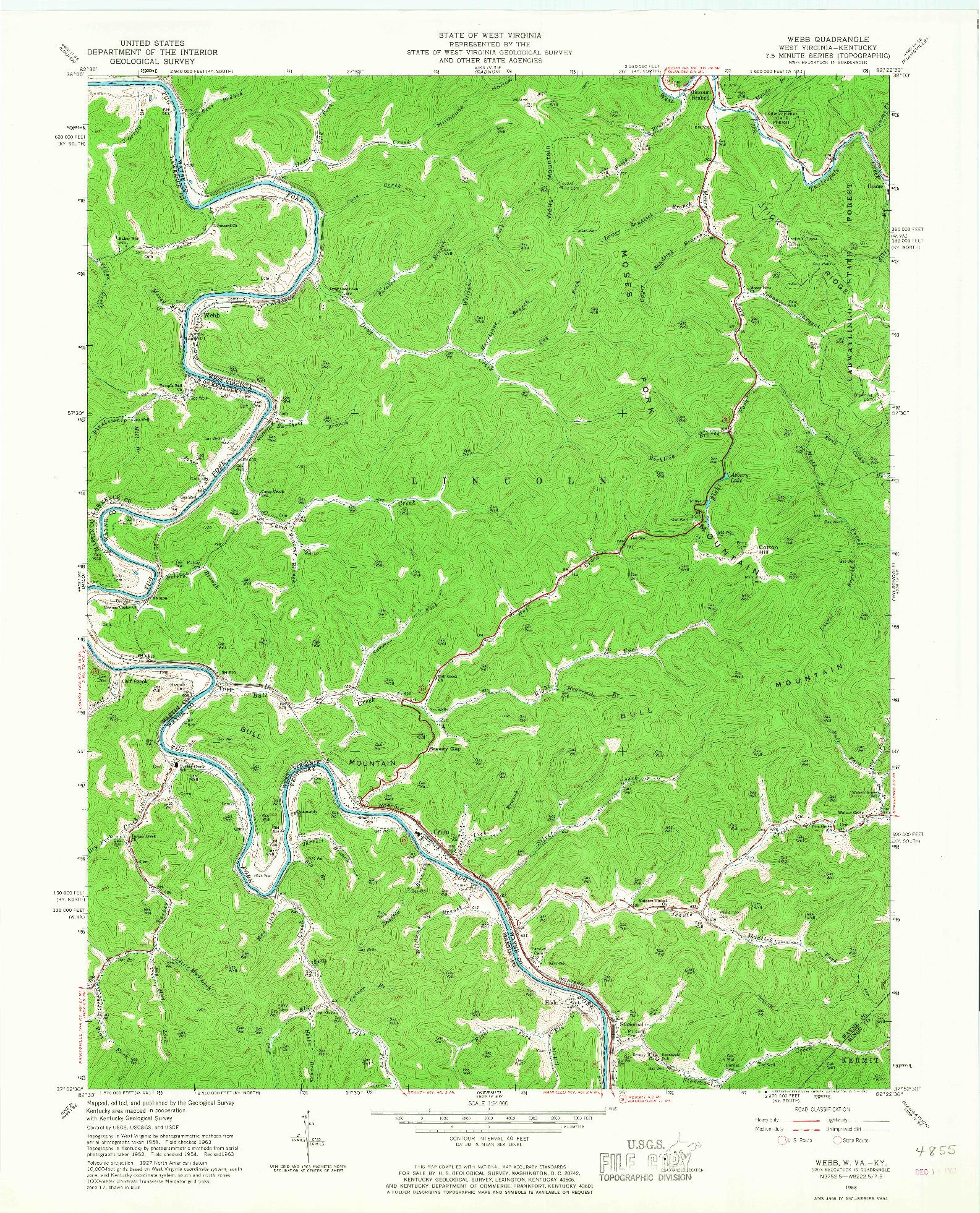 USGS 1:24000-SCALE QUADRANGLE FOR WEBB, WV 1963