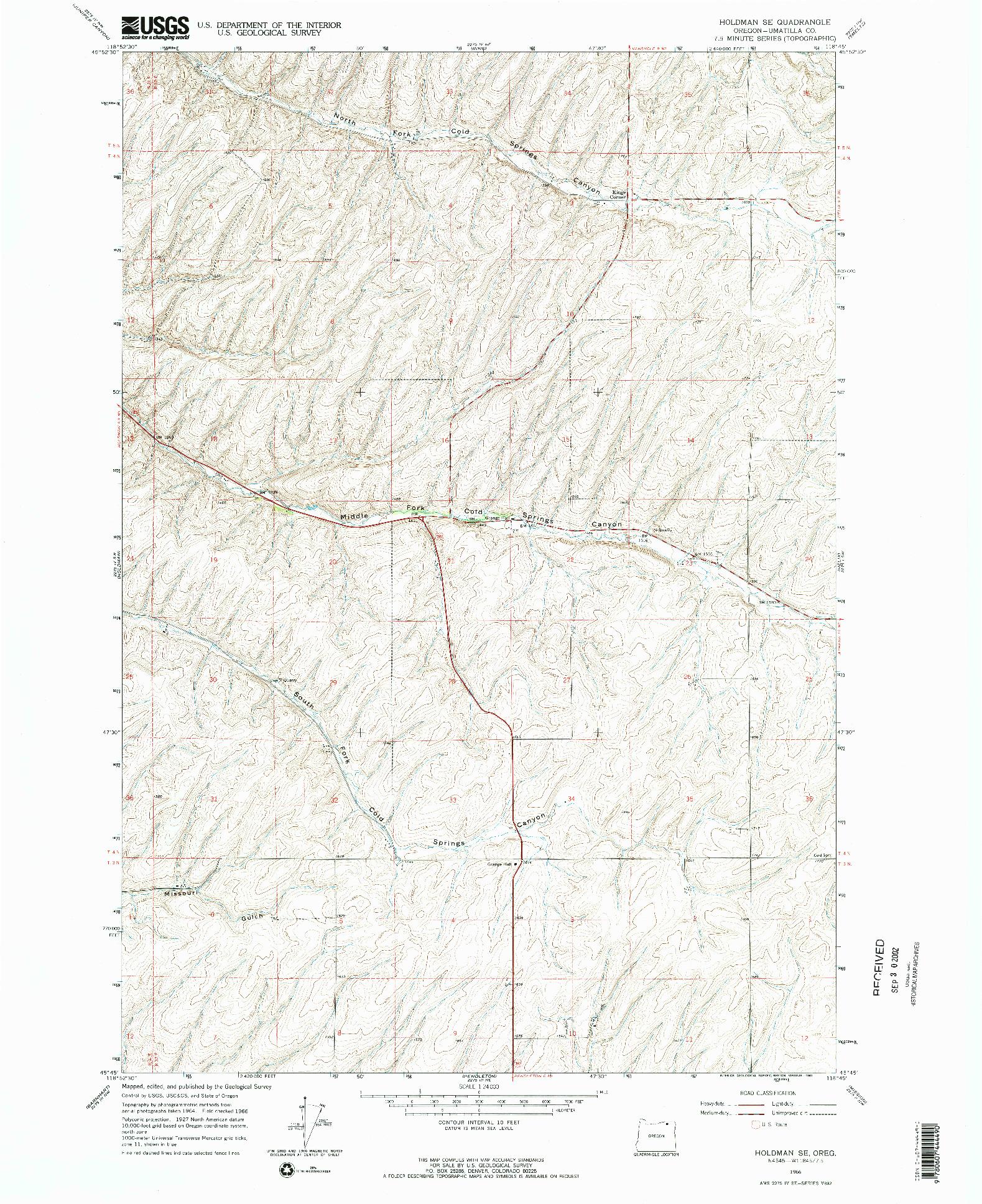 USGS 1:24000-SCALE QUADRANGLE FOR HOLDMAN SE, OR 1966
