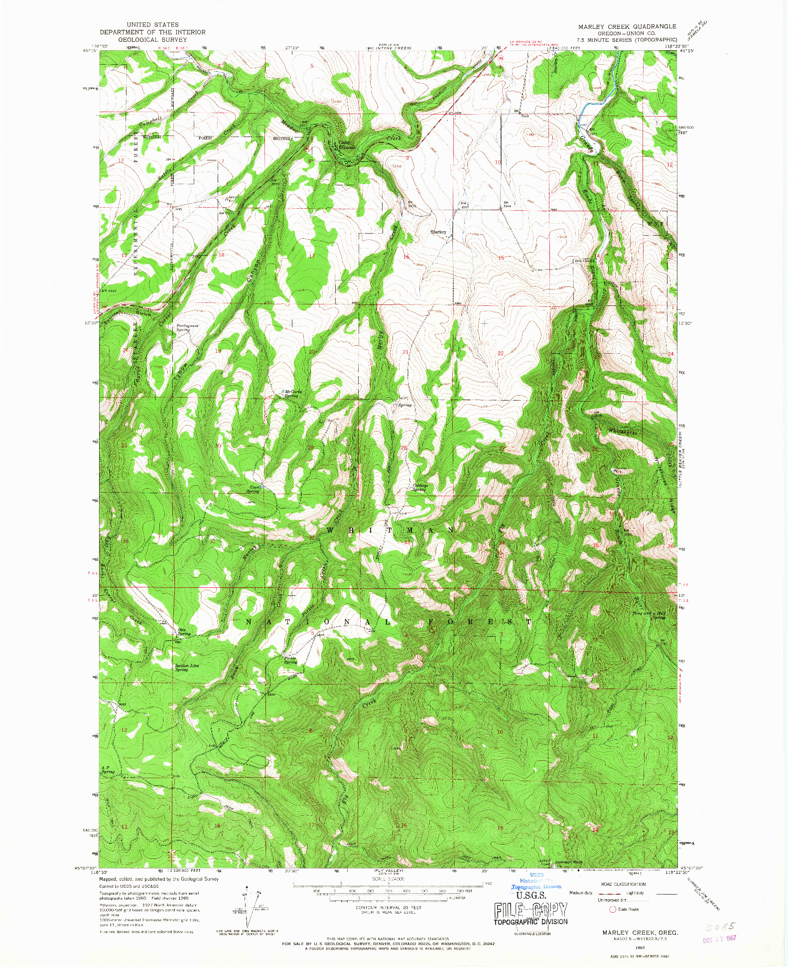 USGS 1:24000-SCALE QUADRANGLE FOR MARLEY CREEK, OR 1965