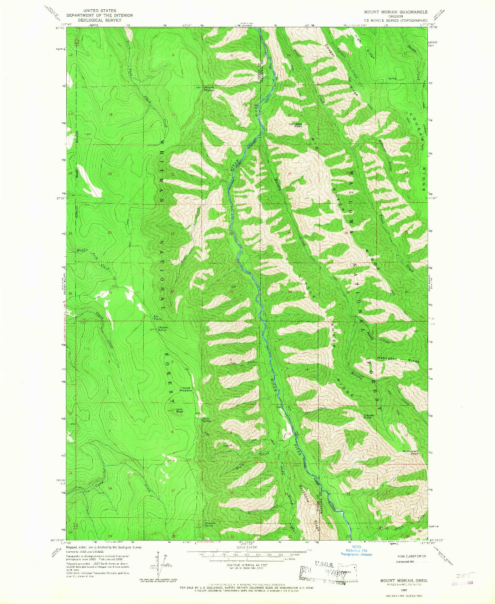 USGS 1:24000-SCALE QUADRANGLE FOR MOUNT MORIAH, OR 1965