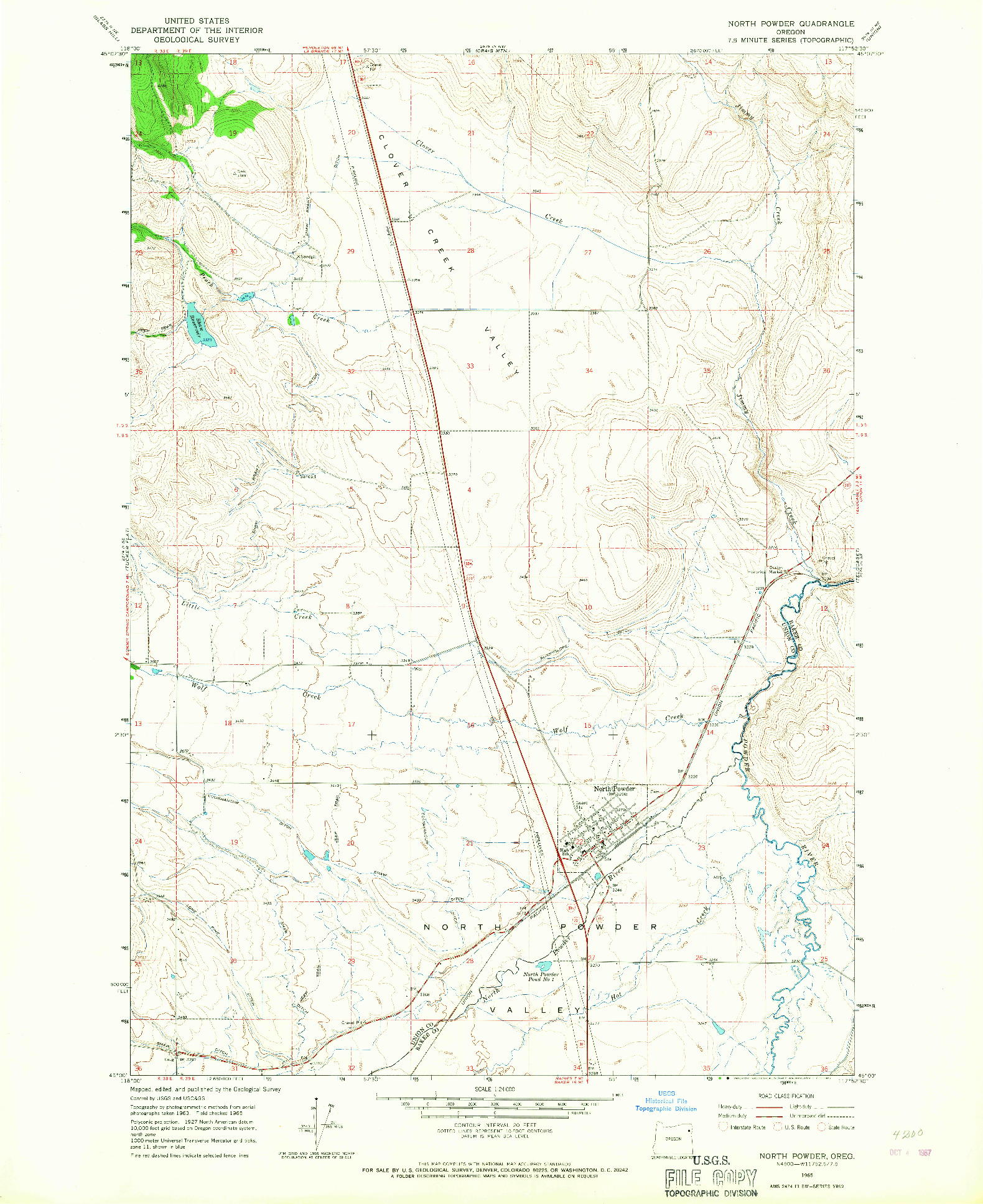 USGS 1:24000-SCALE QUADRANGLE FOR NORTH POWDER, OR 1965