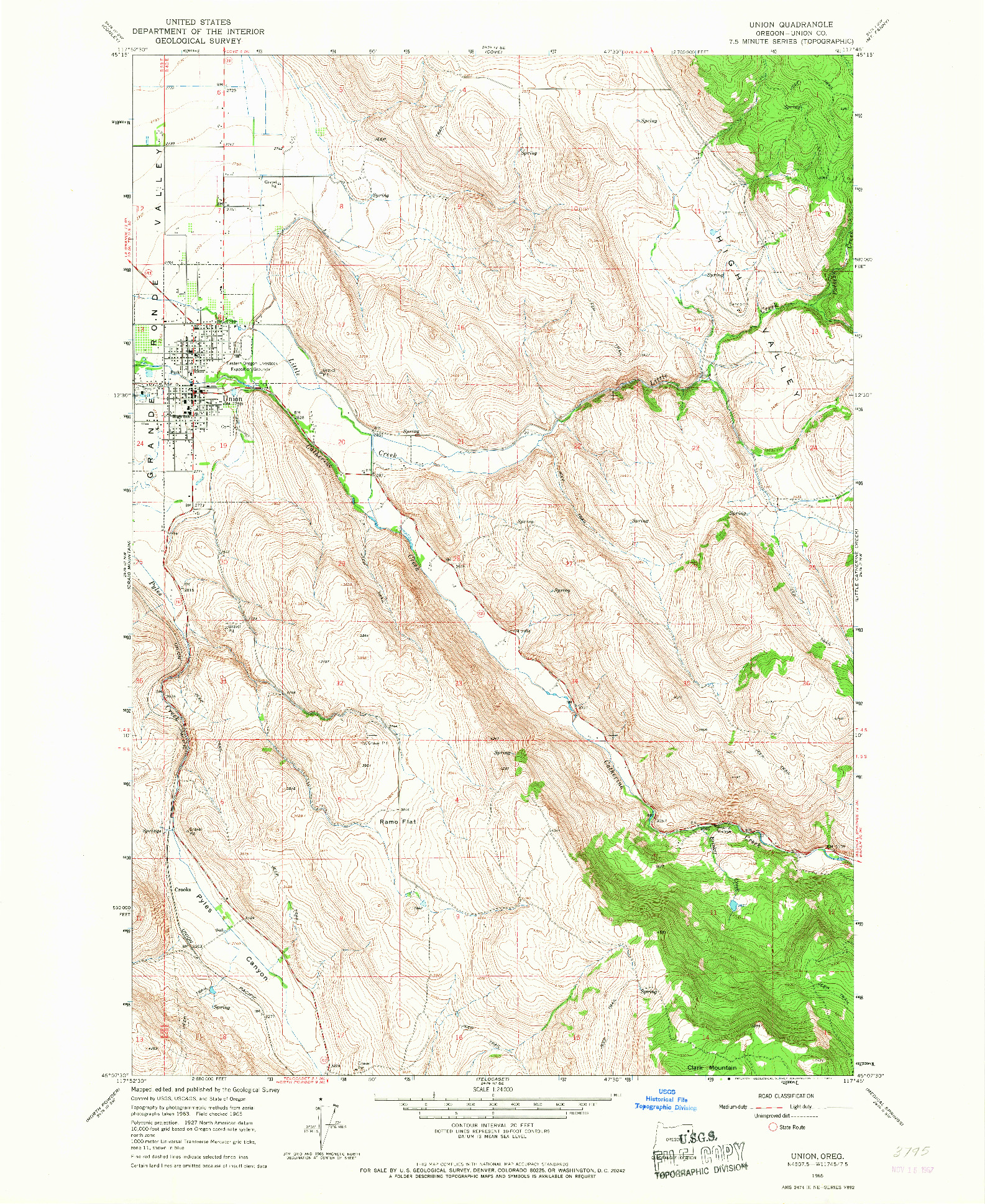 USGS 1:24000-SCALE QUADRANGLE FOR UNION, OR 1965