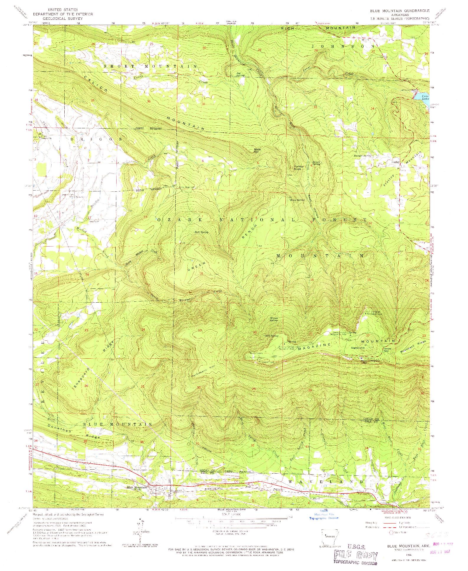USGS 1:24000-SCALE QUADRANGLE FOR BLUE MOUNTAIN, AR 1966