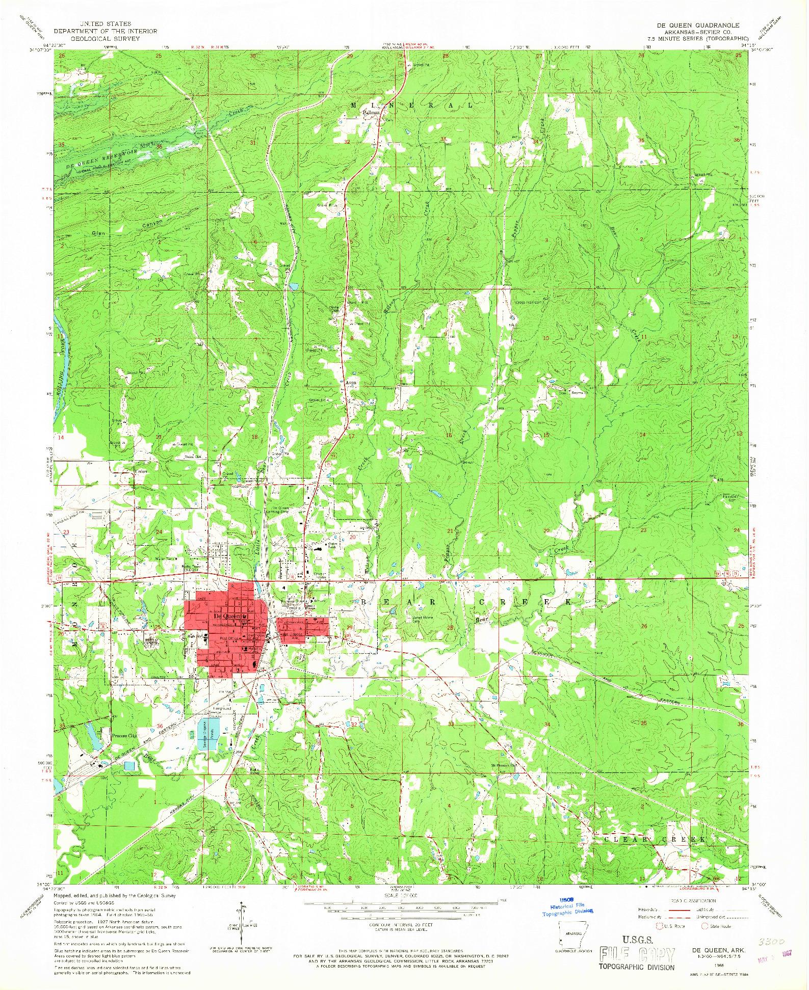 USGS 1:24000-SCALE QUADRANGLE FOR DE QUEEN, AR 1966