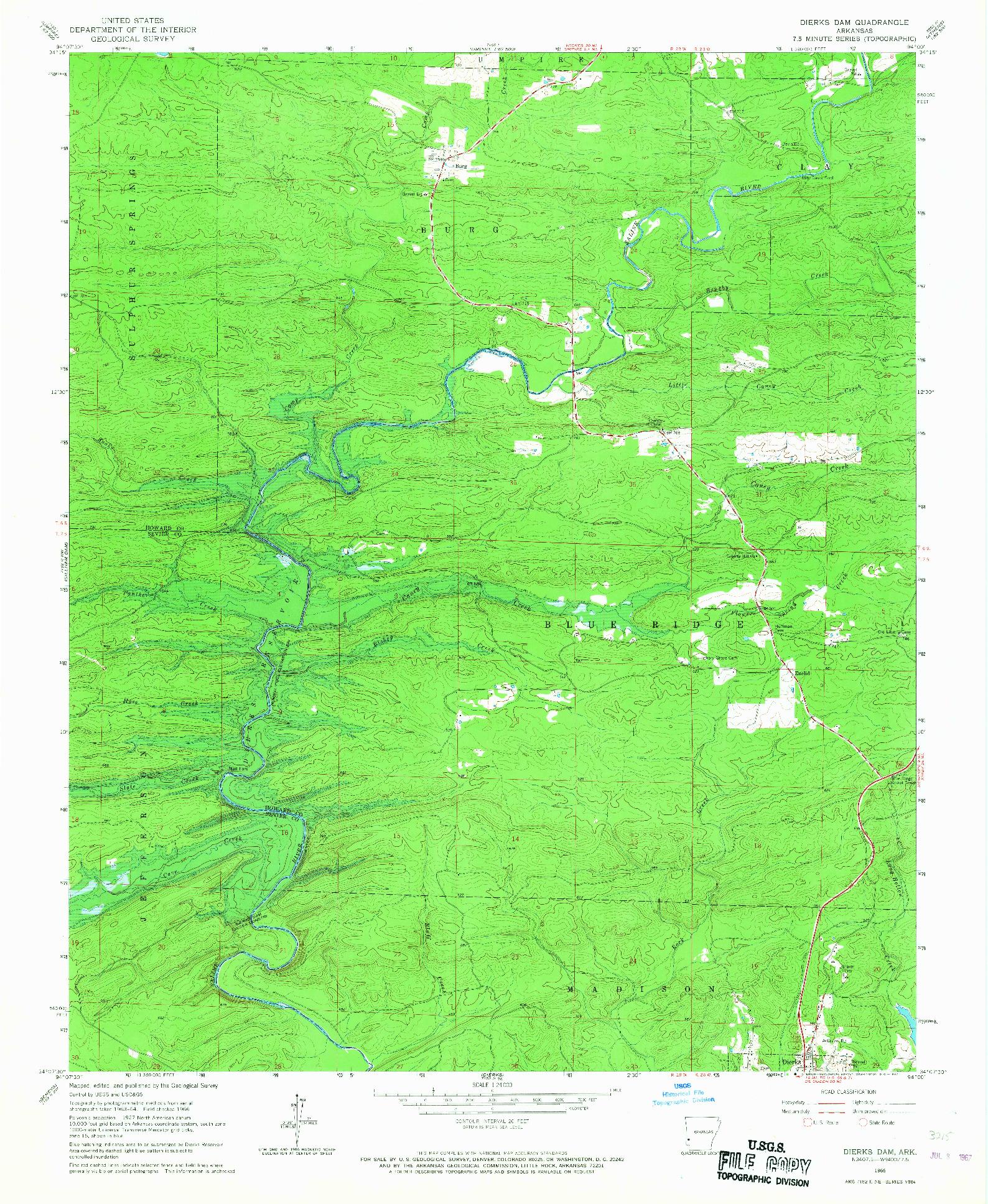 USGS 1:24000-SCALE QUADRANGLE FOR DIERKS DAM, AR 1966