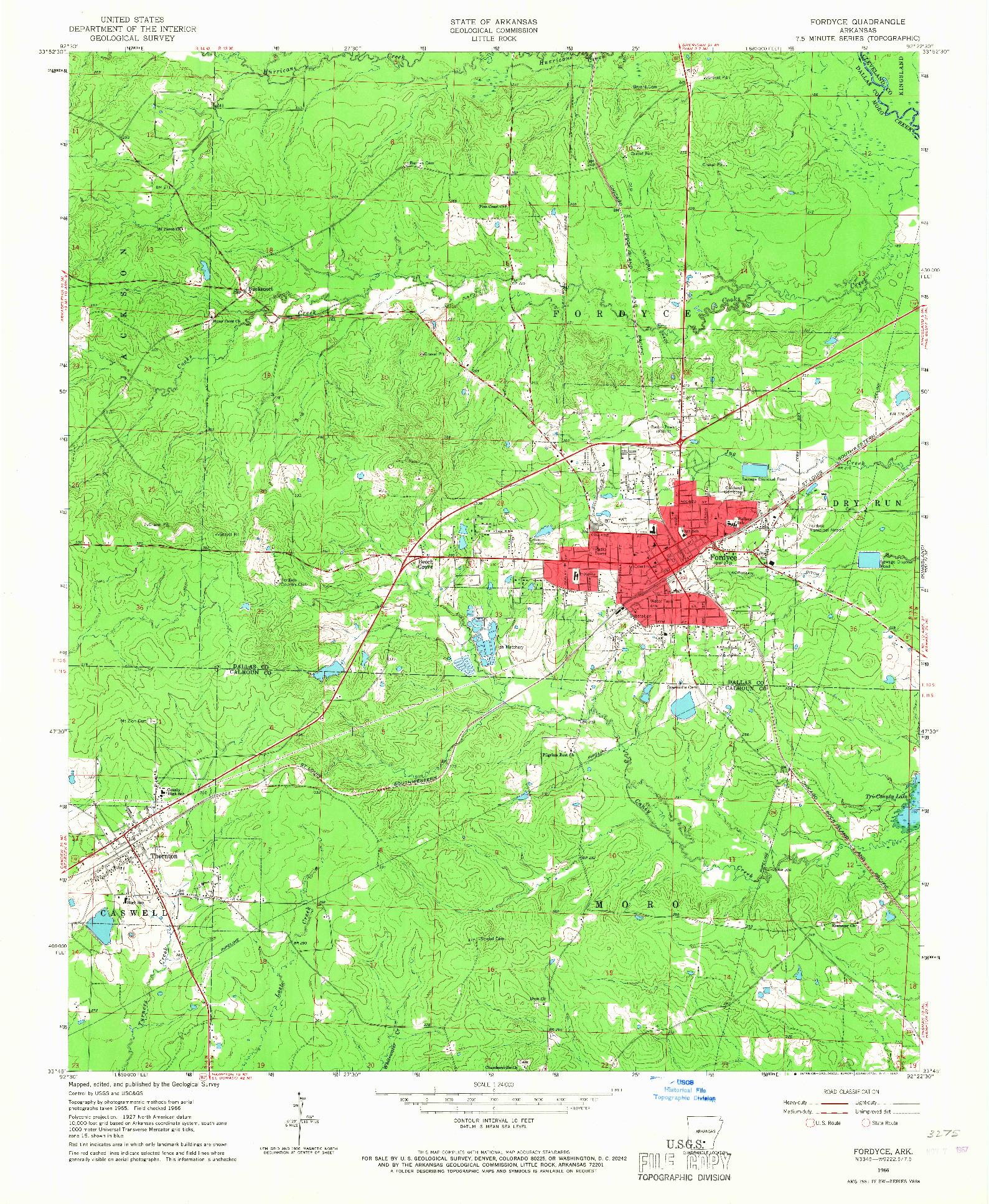 USGS 1:24000-SCALE QUADRANGLE FOR FORDYCE, AR 1966