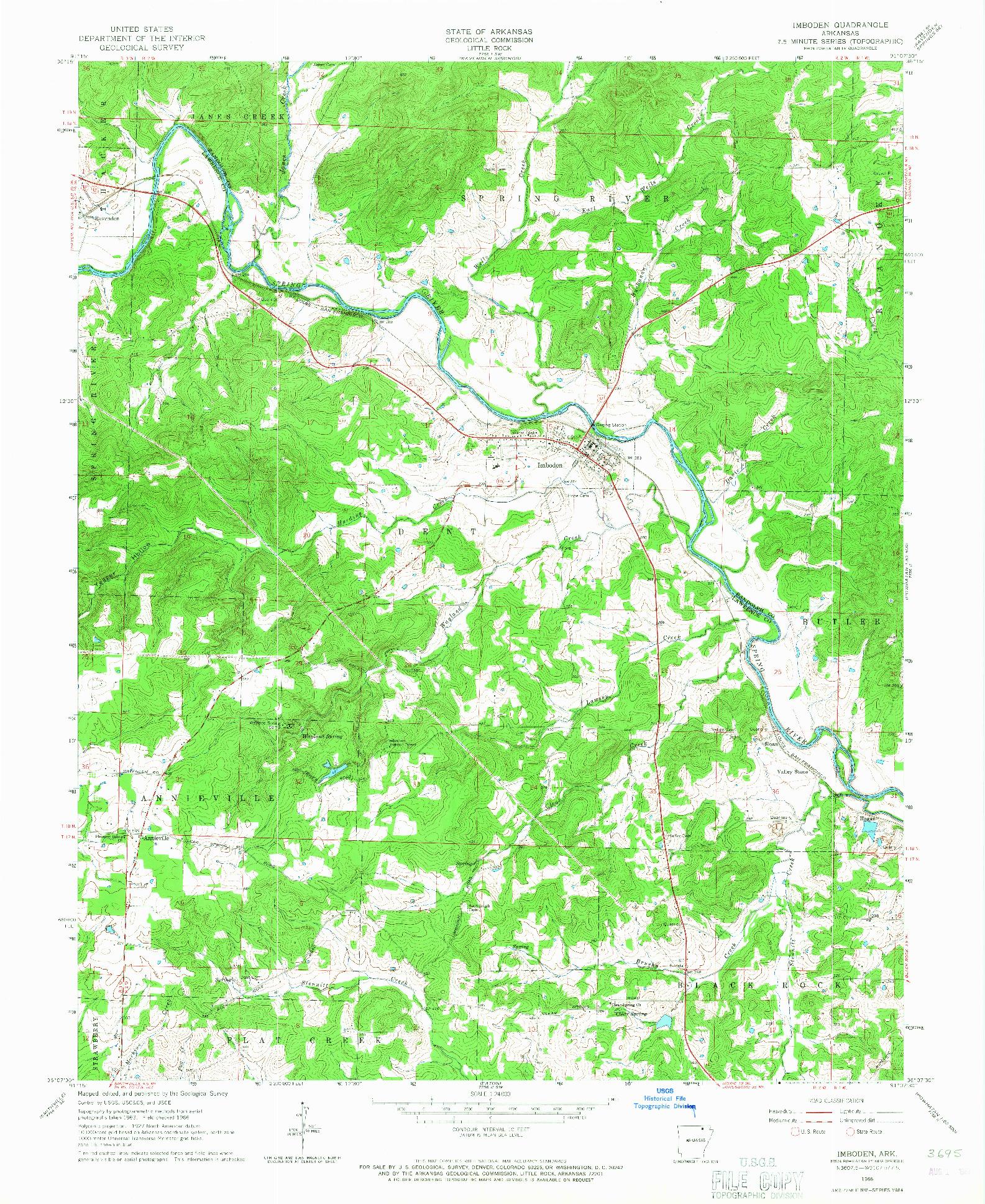 USGS 1:24000-SCALE QUADRANGLE FOR IMBODEN, AR 1966