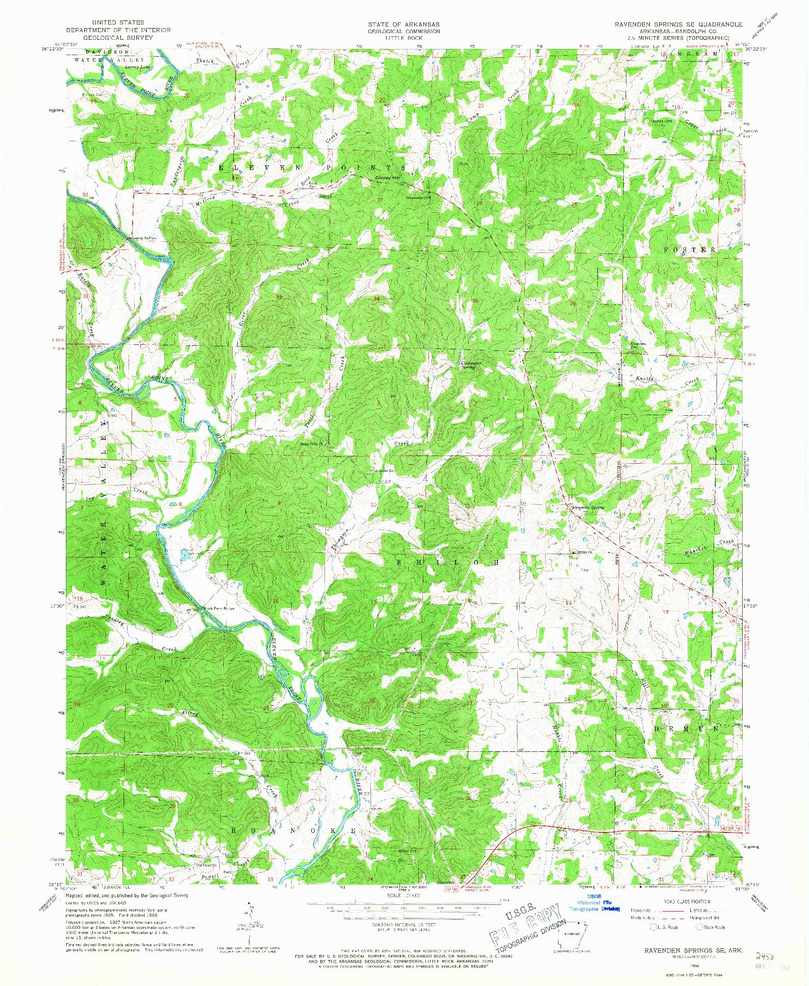 USGS 1:24000-SCALE QUADRANGLE FOR RAVENDEN SPRINGS SE, AR 1966