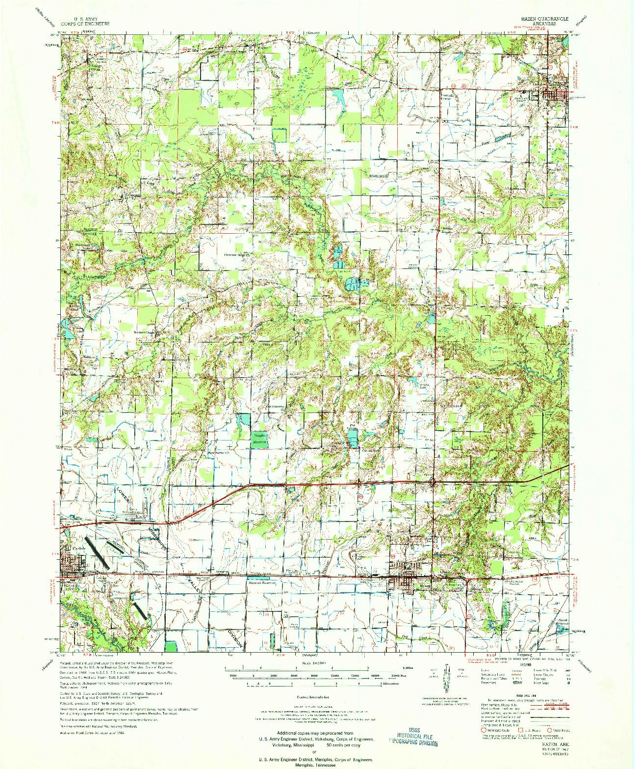 USGS 1:62500-SCALE QUADRANGLE FOR HAZEN, AR 1967