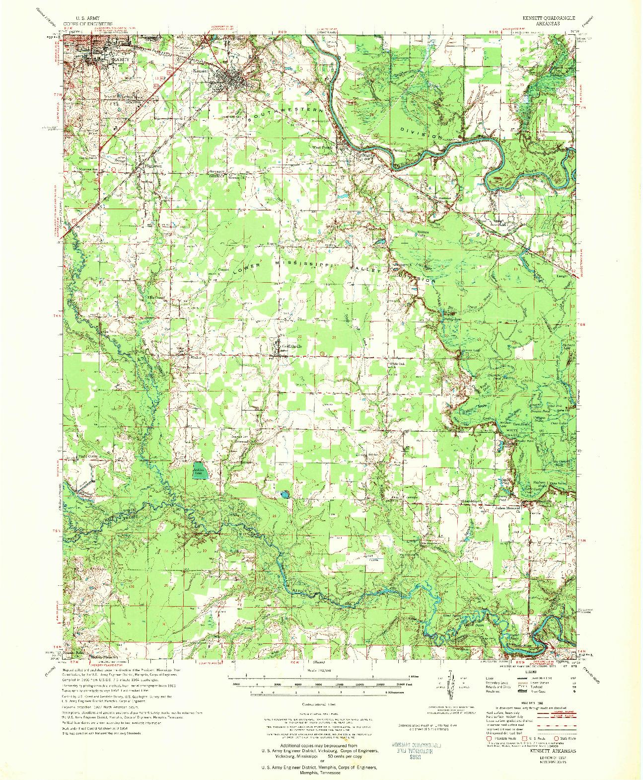 USGS 1:62500-SCALE QUADRANGLE FOR KENSETT, AR 1967