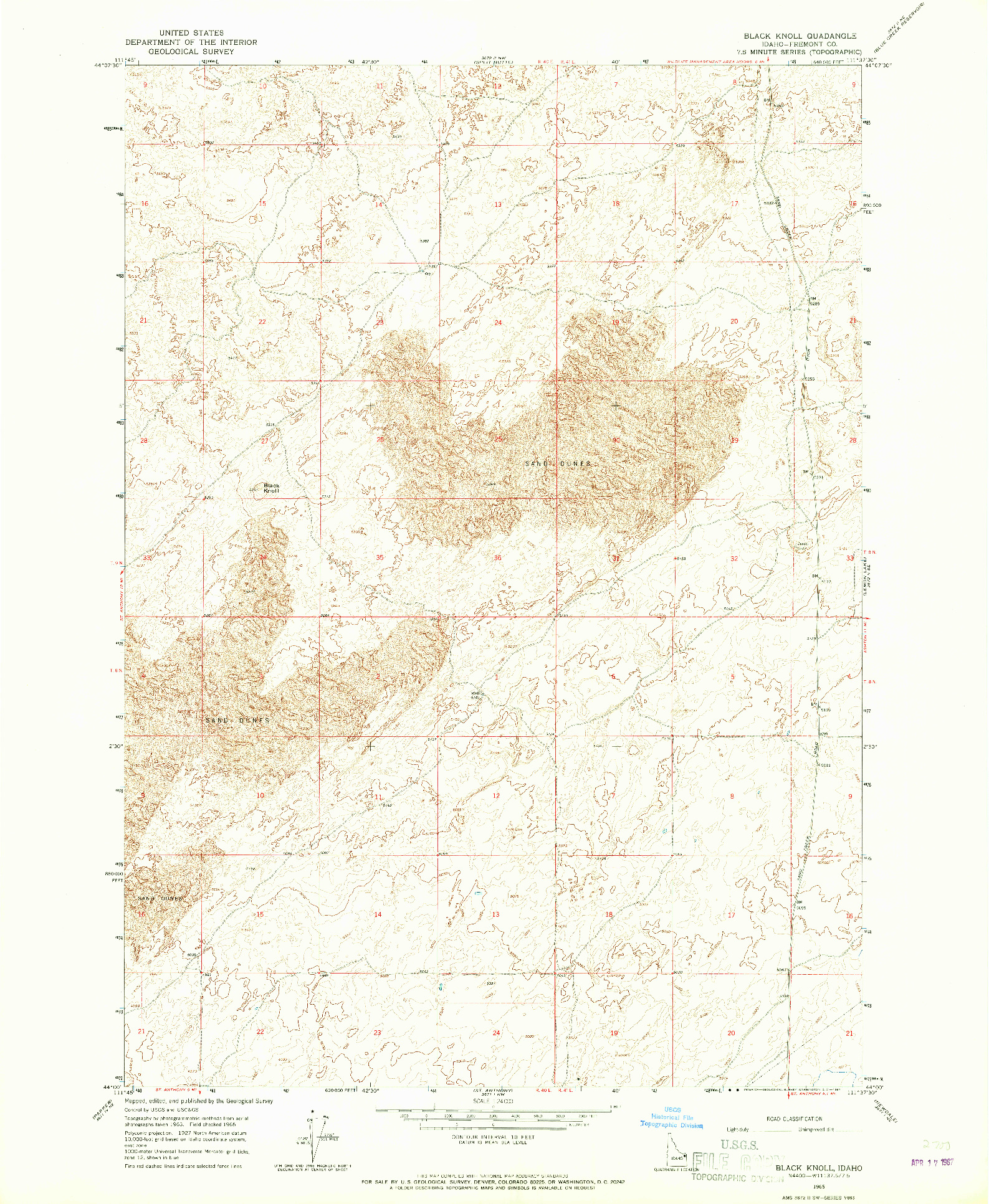 USGS 1:24000-SCALE QUADRANGLE FOR BLACK KNOLL, ID 1965