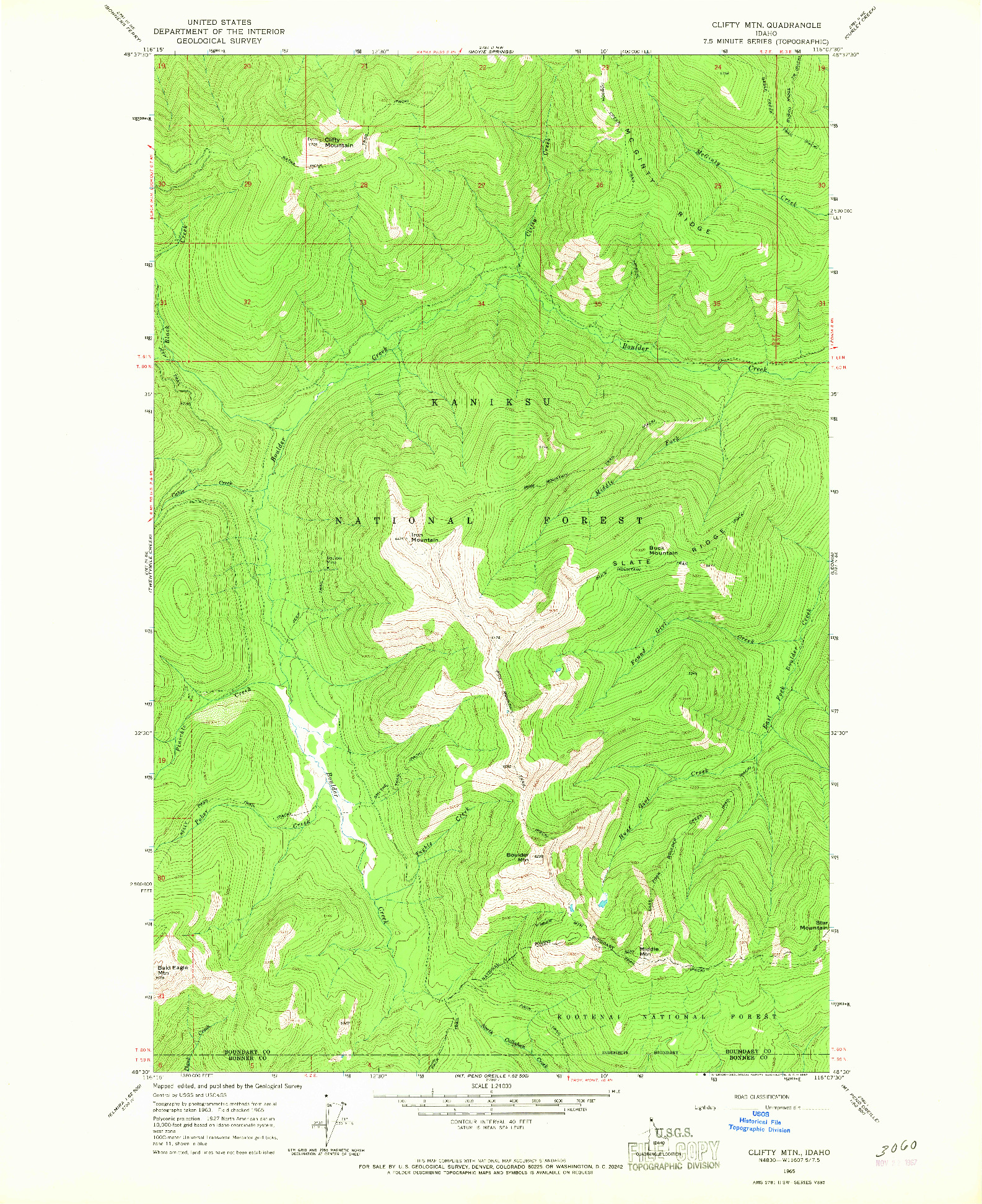 USGS 1:24000-SCALE QUADRANGLE FOR CLIFTY MTN, ID 1965