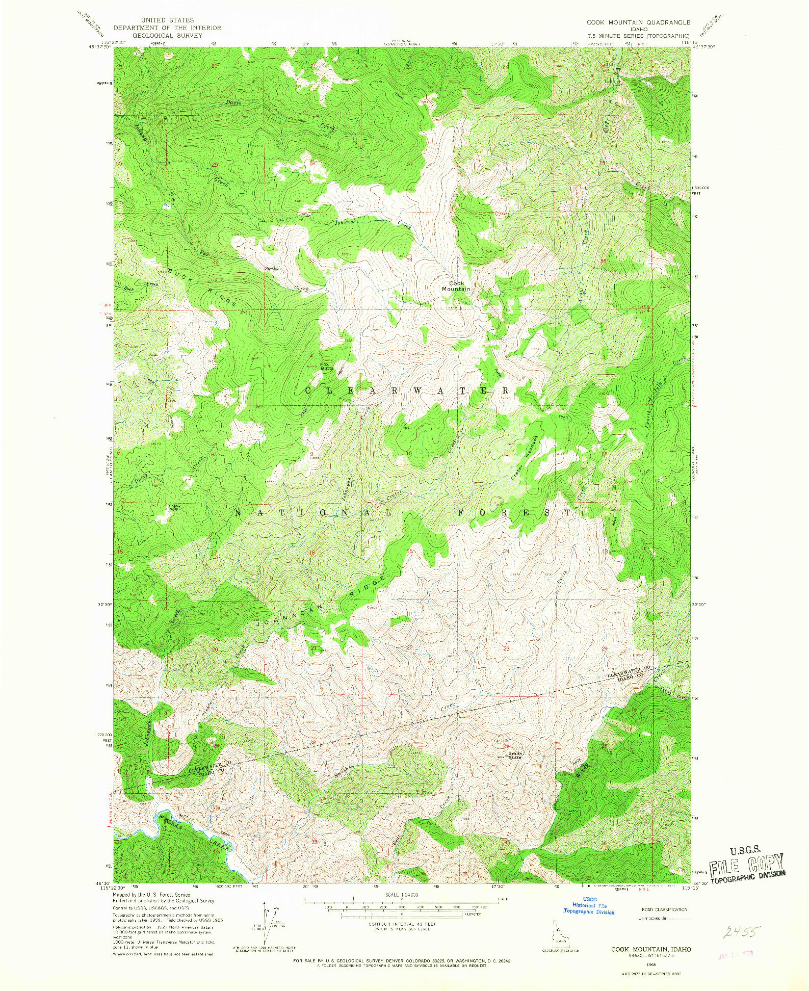 USGS 1:24000-SCALE QUADRANGLE FOR COOK MOUNTAIN, ID 1965