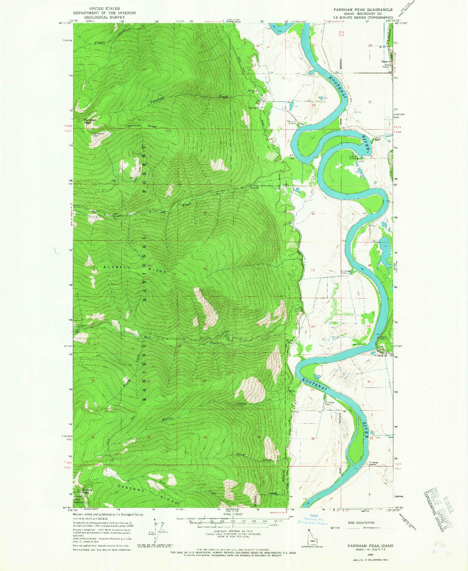 USGS 1:24000-SCALE QUADRANGLE FOR FARNHAM PEAK, ID 1965