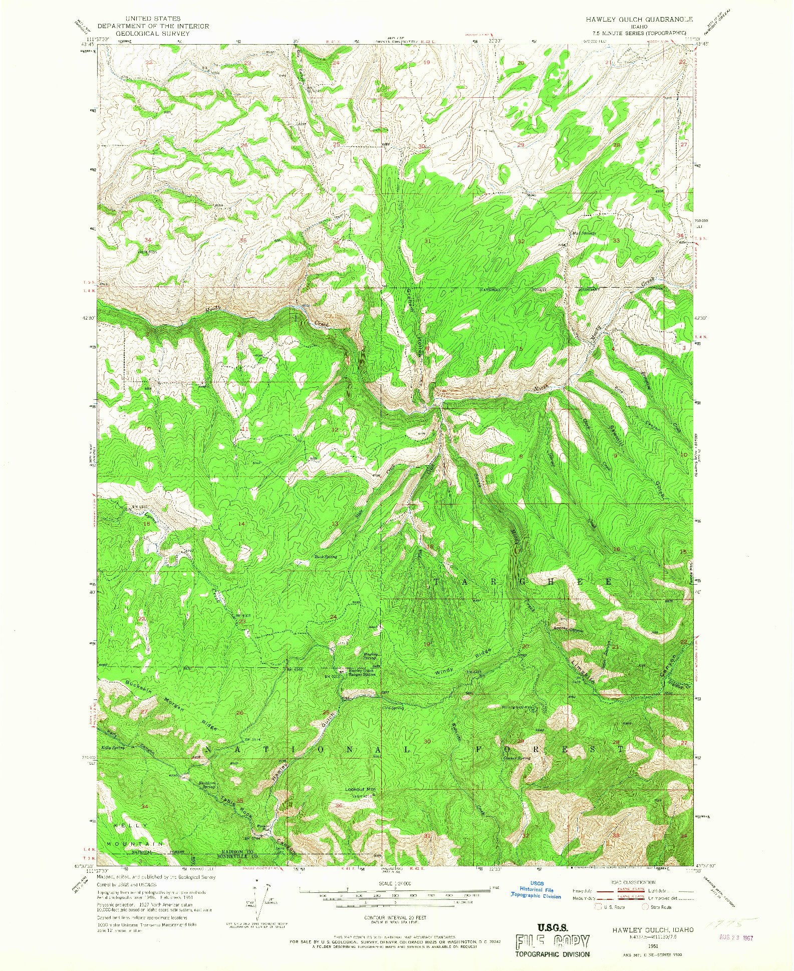 USGS 1:24000-SCALE QUADRANGLE FOR HAWLEY GULCH, ID 1951