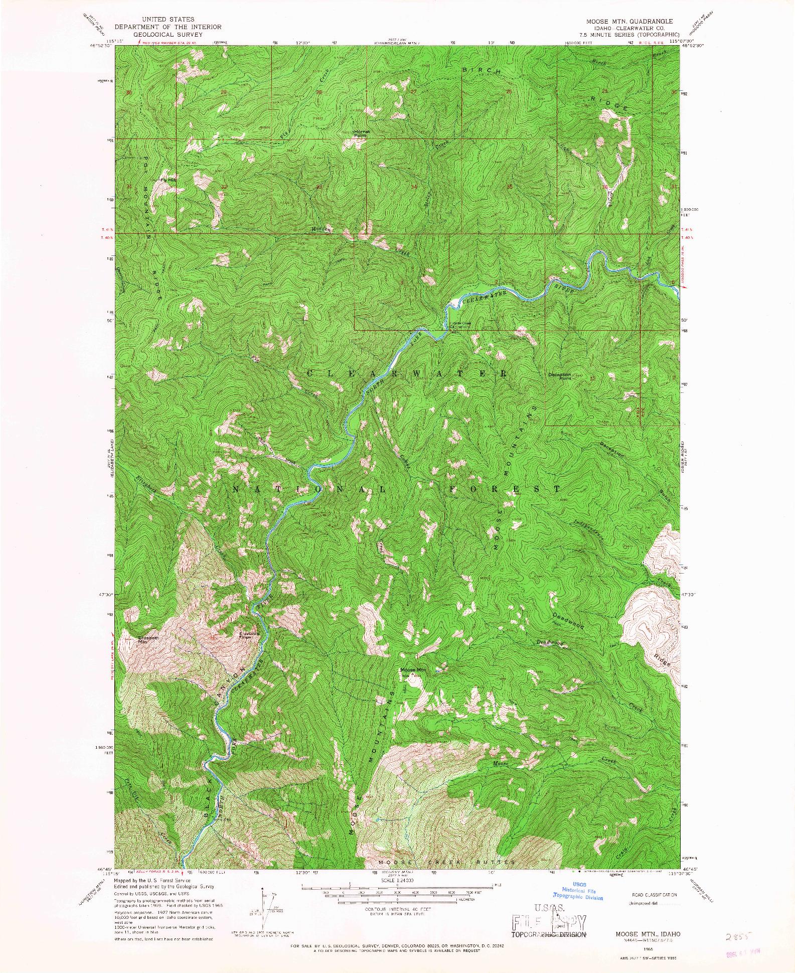 USGS 1:24000-SCALE QUADRANGLE FOR MOOSE MTN, ID 1965