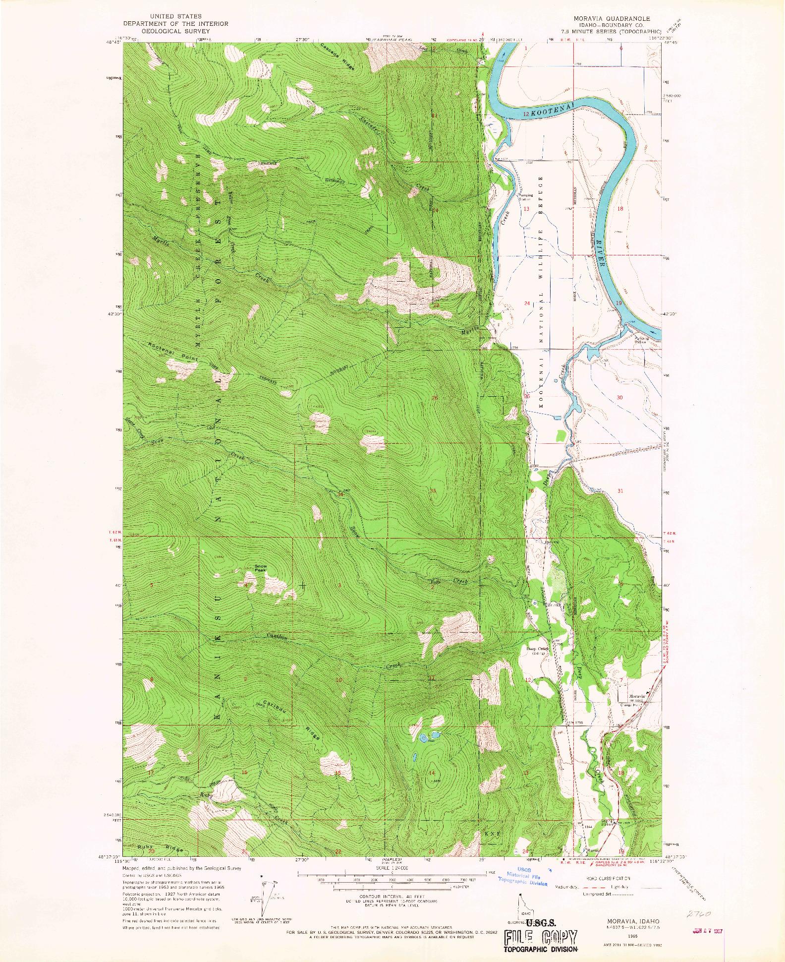 USGS 1:24000-SCALE QUADRANGLE FOR MORAVIA, ID 1965