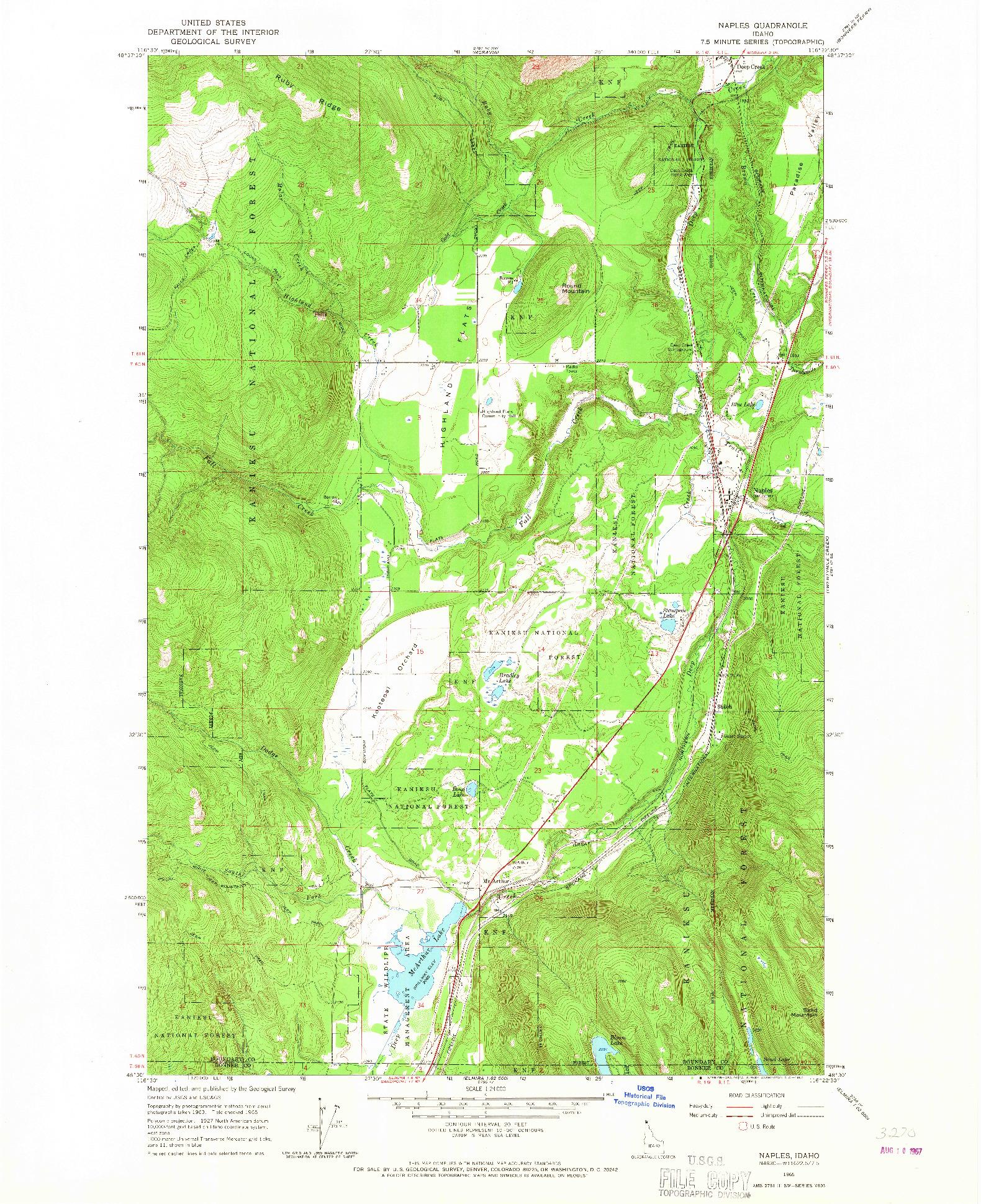 USGS 1:24000-SCALE QUADRANGLE FOR NAPLES, ID 1965