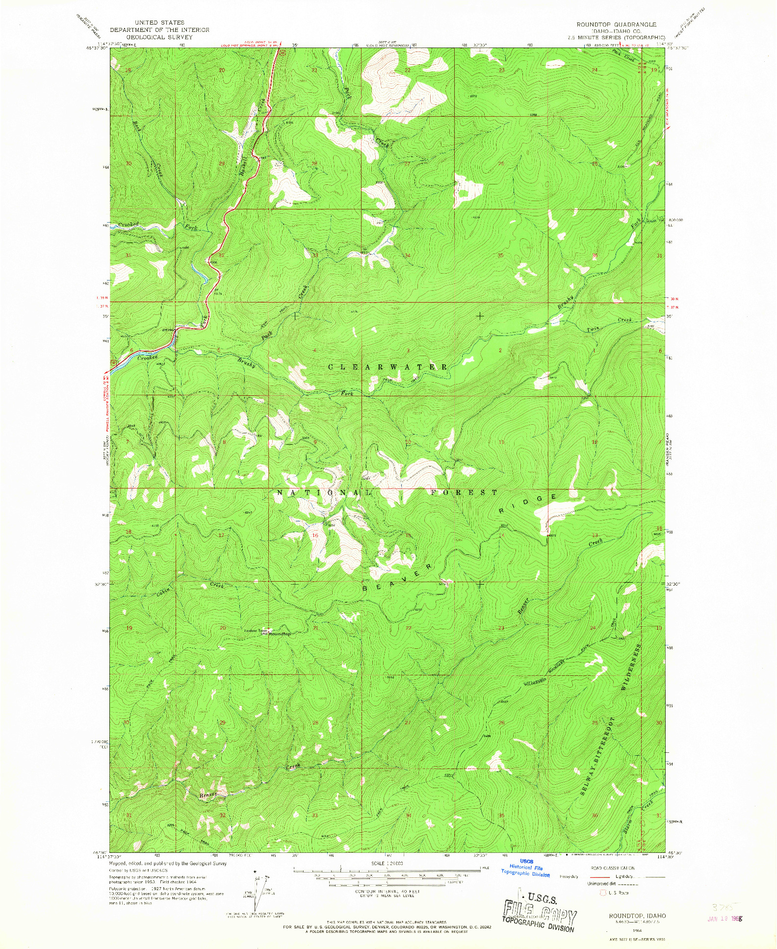 USGS 1:24000-SCALE QUADRANGLE FOR ROUNDTOP, ID 1964