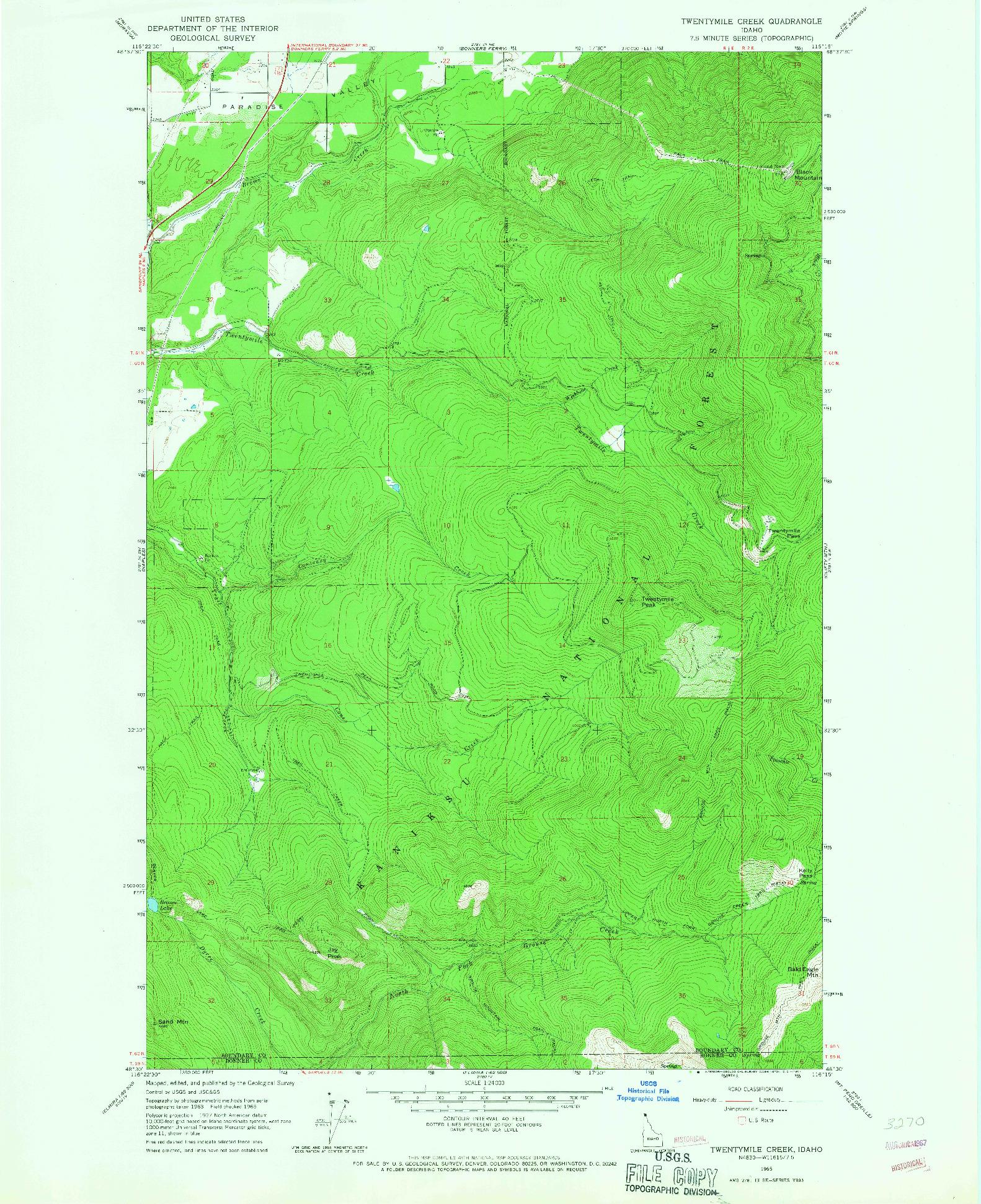 USGS 1:24000-SCALE QUADRANGLE FOR TWENTYMILE CREEK, ID 1965