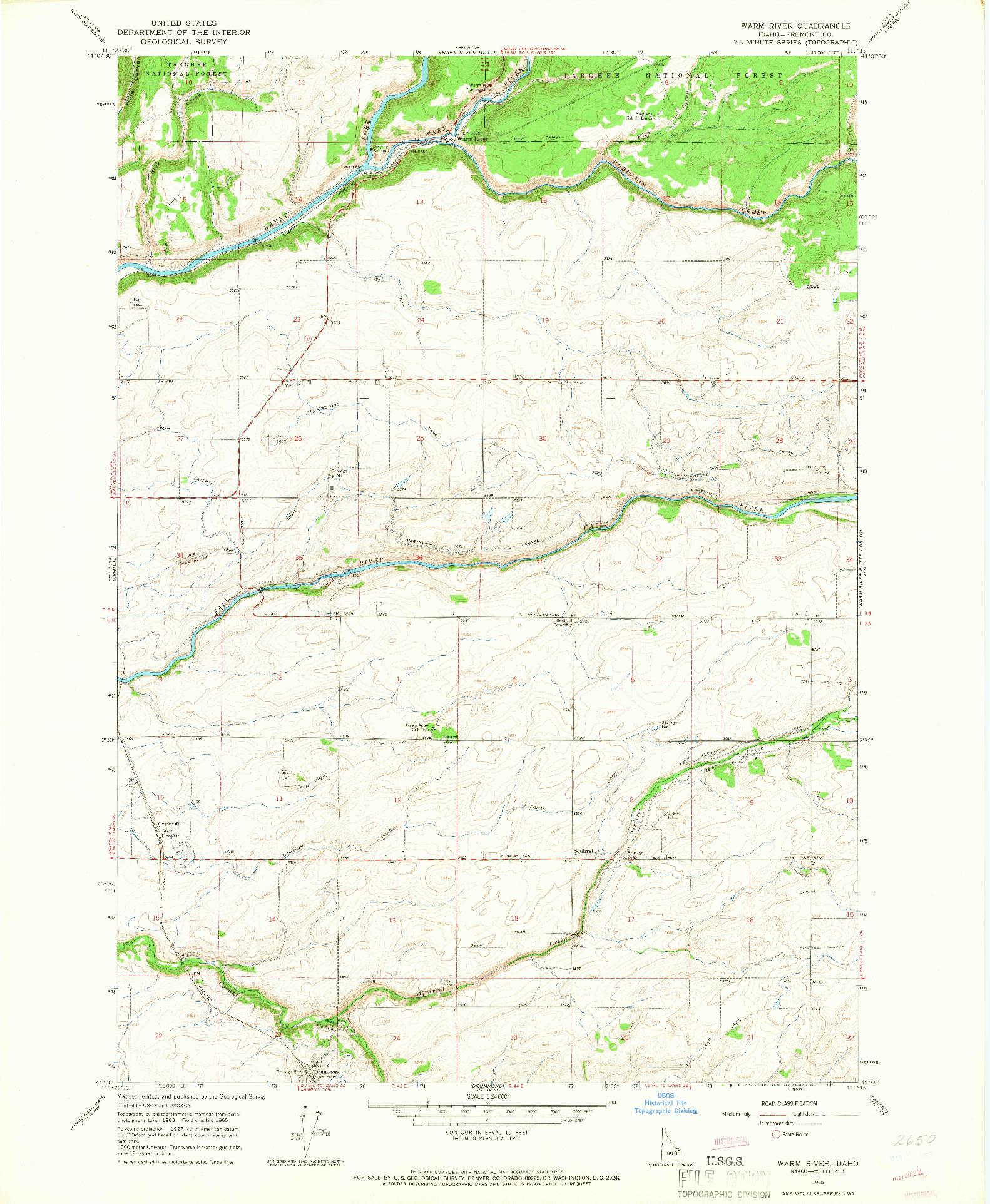 USGS 1:24000-SCALE QUADRANGLE FOR WARM RIVER, ID 1965