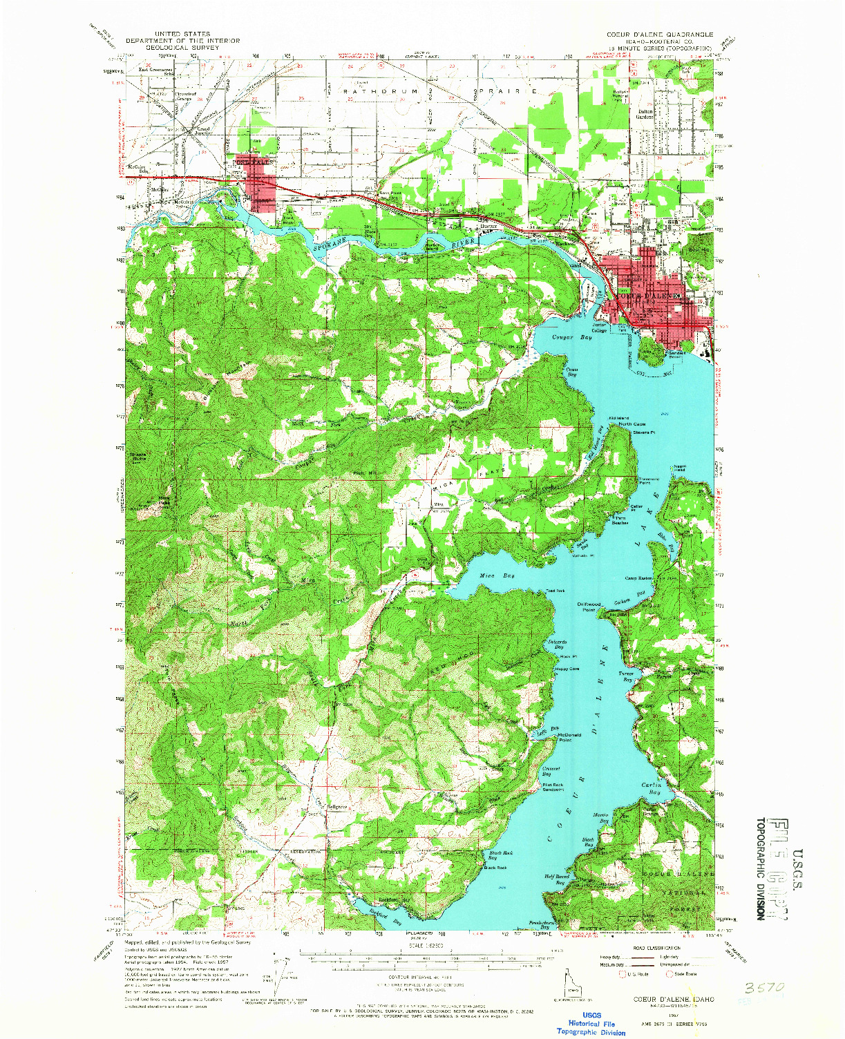 USGS 1:62500-SCALE QUADRANGLE FOR COEUR D'ALENE, ID 1957