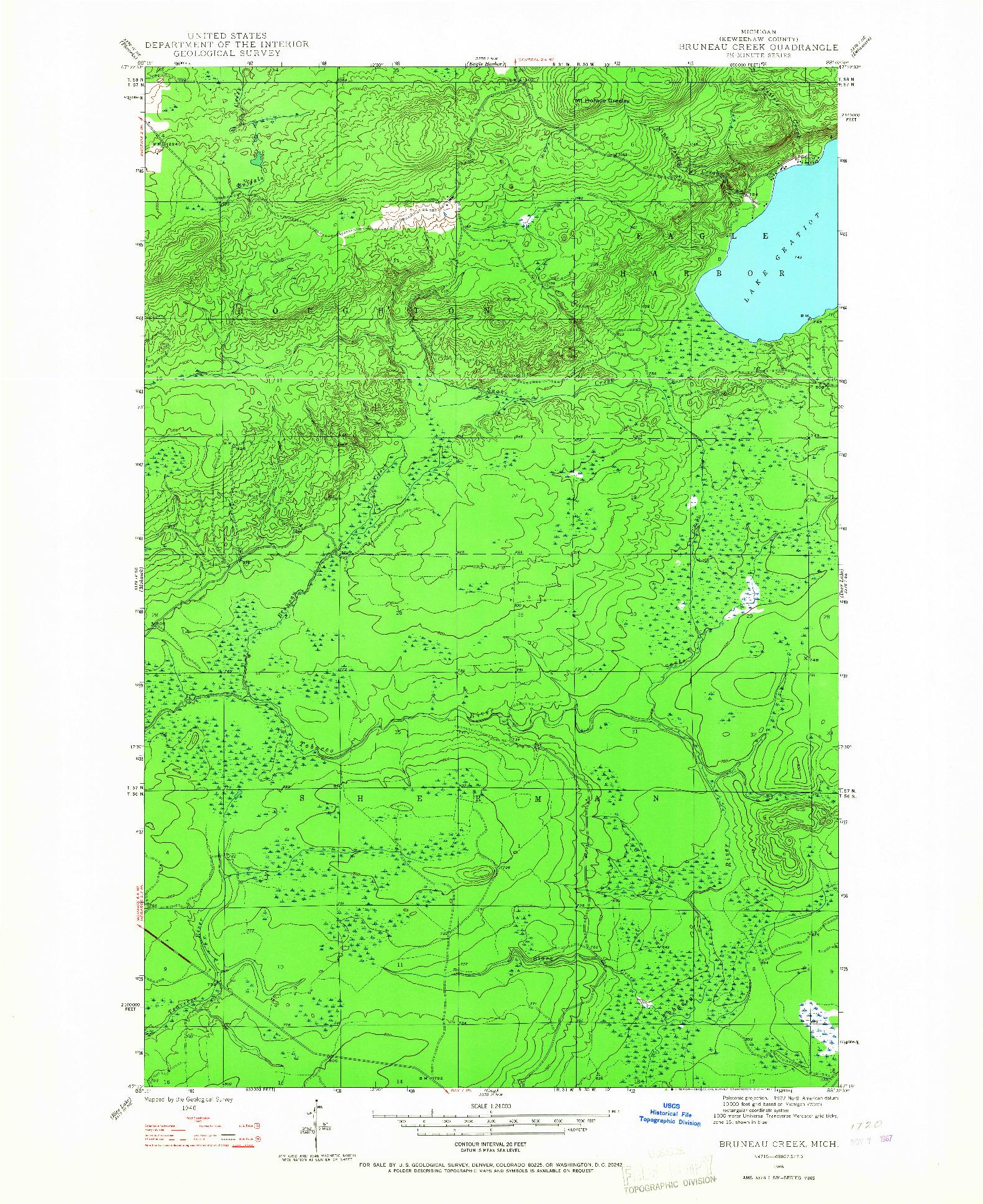 USGS 1:24000-SCALE QUADRANGLE FOR BRUNEAU CREEK, MI 1946