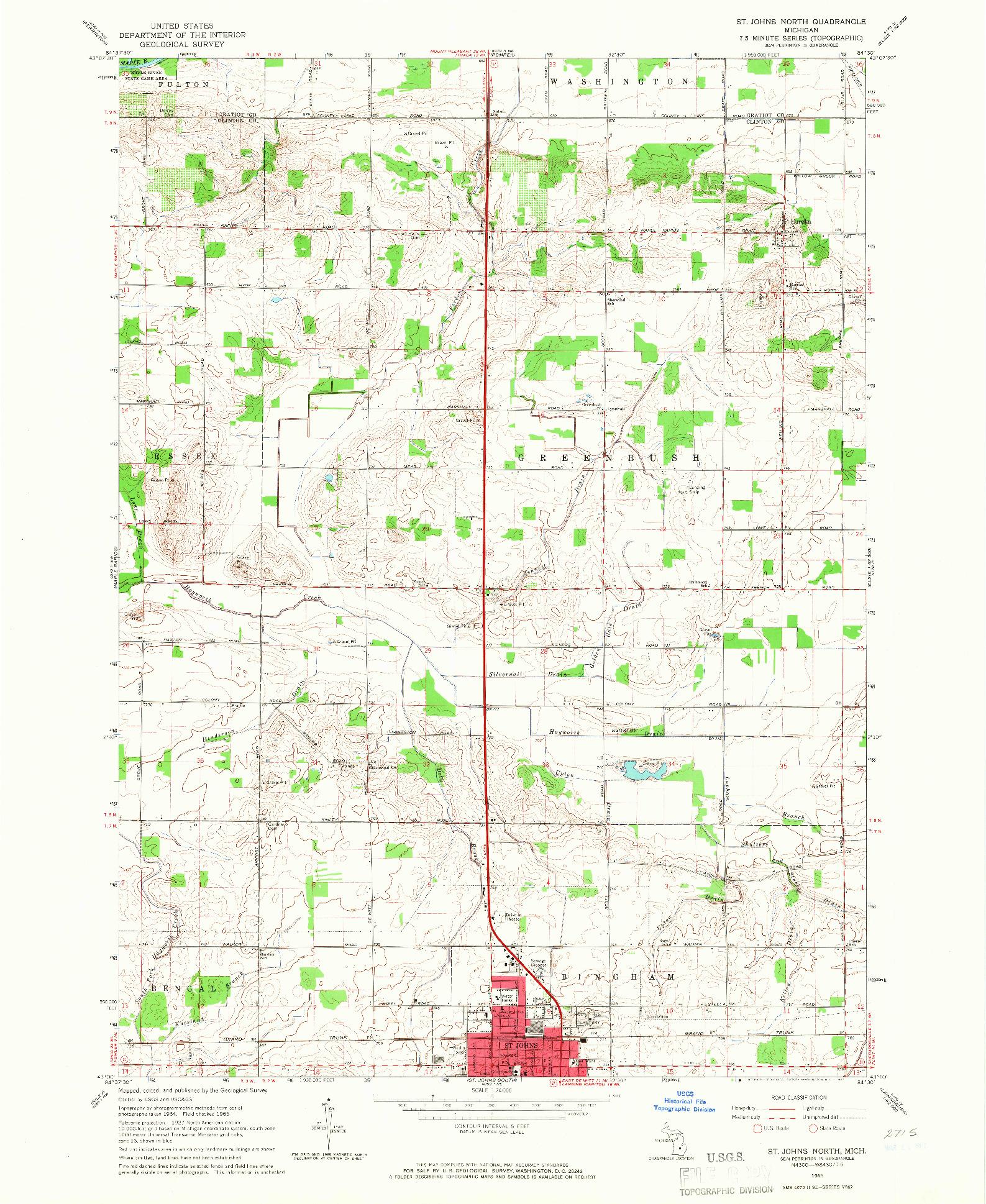 USGS 1:24000-SCALE QUADRANGLE FOR ST. JOHNS NORTH, MI 1965