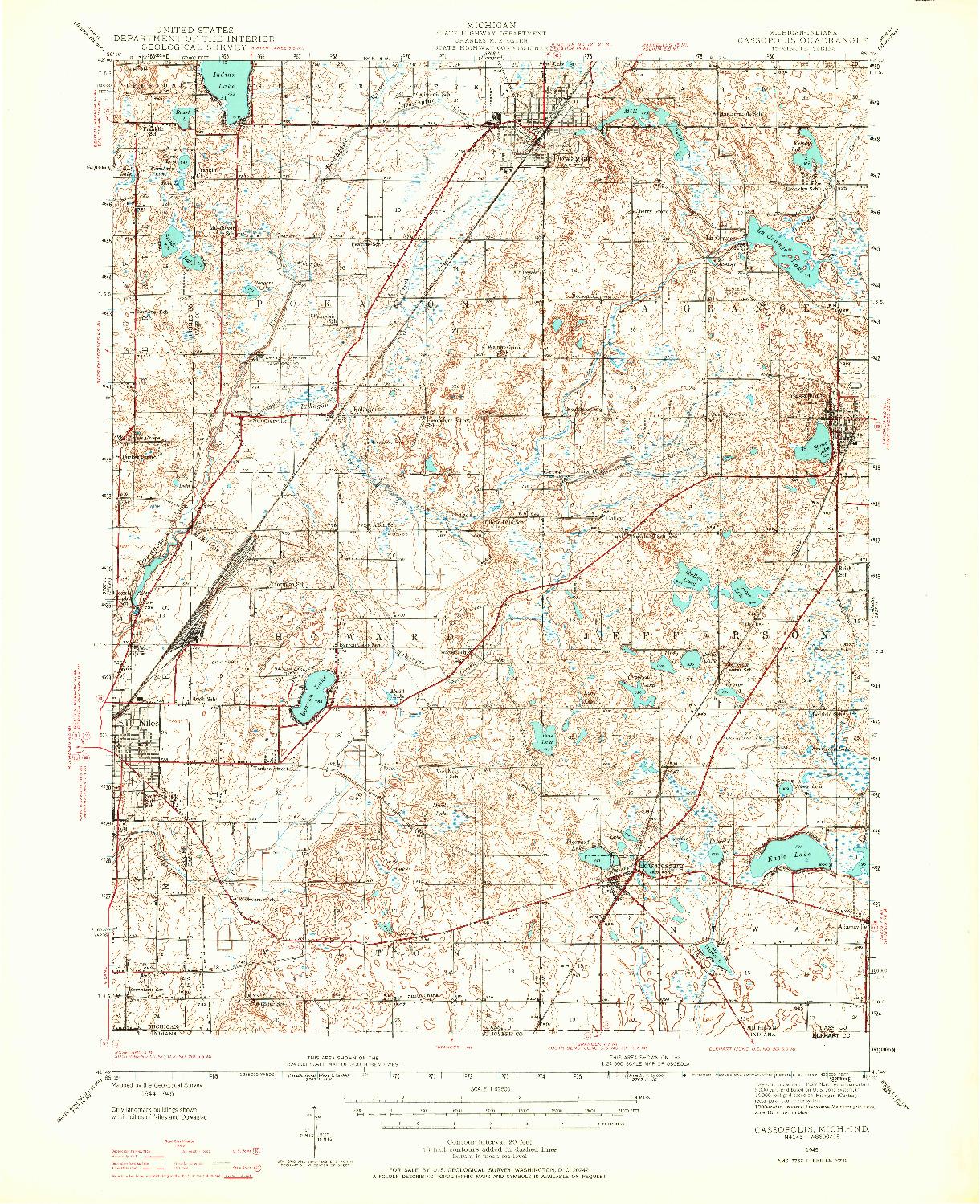 USGS 1:62500-SCALE QUADRANGLE FOR CASSOPOLIS, MI 1945