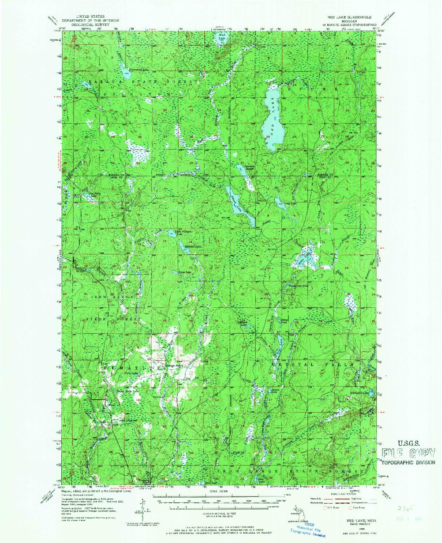 USGS 1:62500-SCALE QUADRANGLE FOR NED LAKE, MI 1955