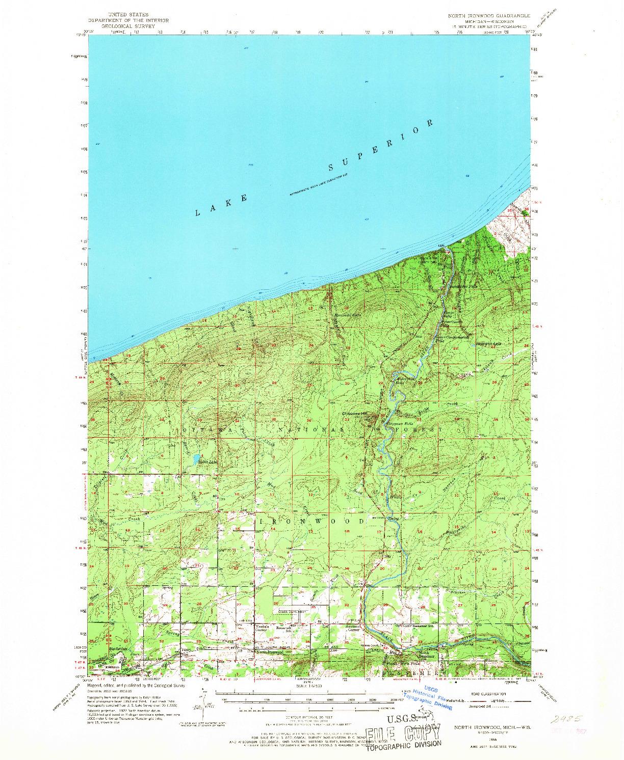 USGS 1:62500-SCALE QUADRANGLE FOR NORTH IRONWOOD, MI 1956