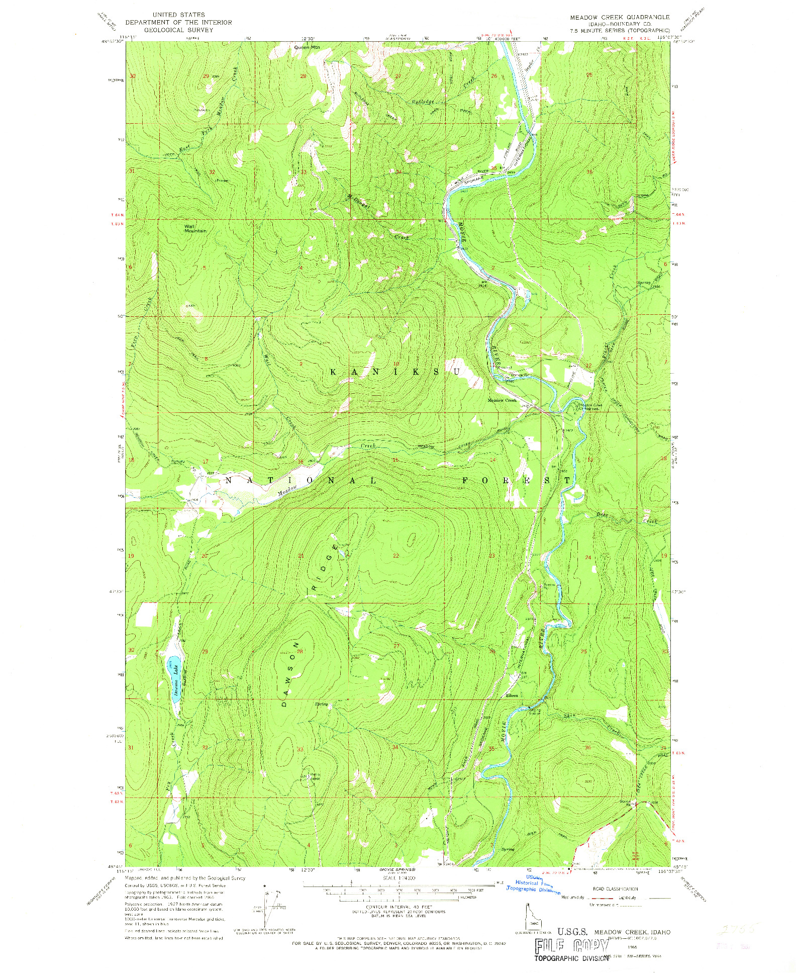 USGS 1:24000-SCALE QUADRANGLE FOR MEADOW CREEK, ID 1965