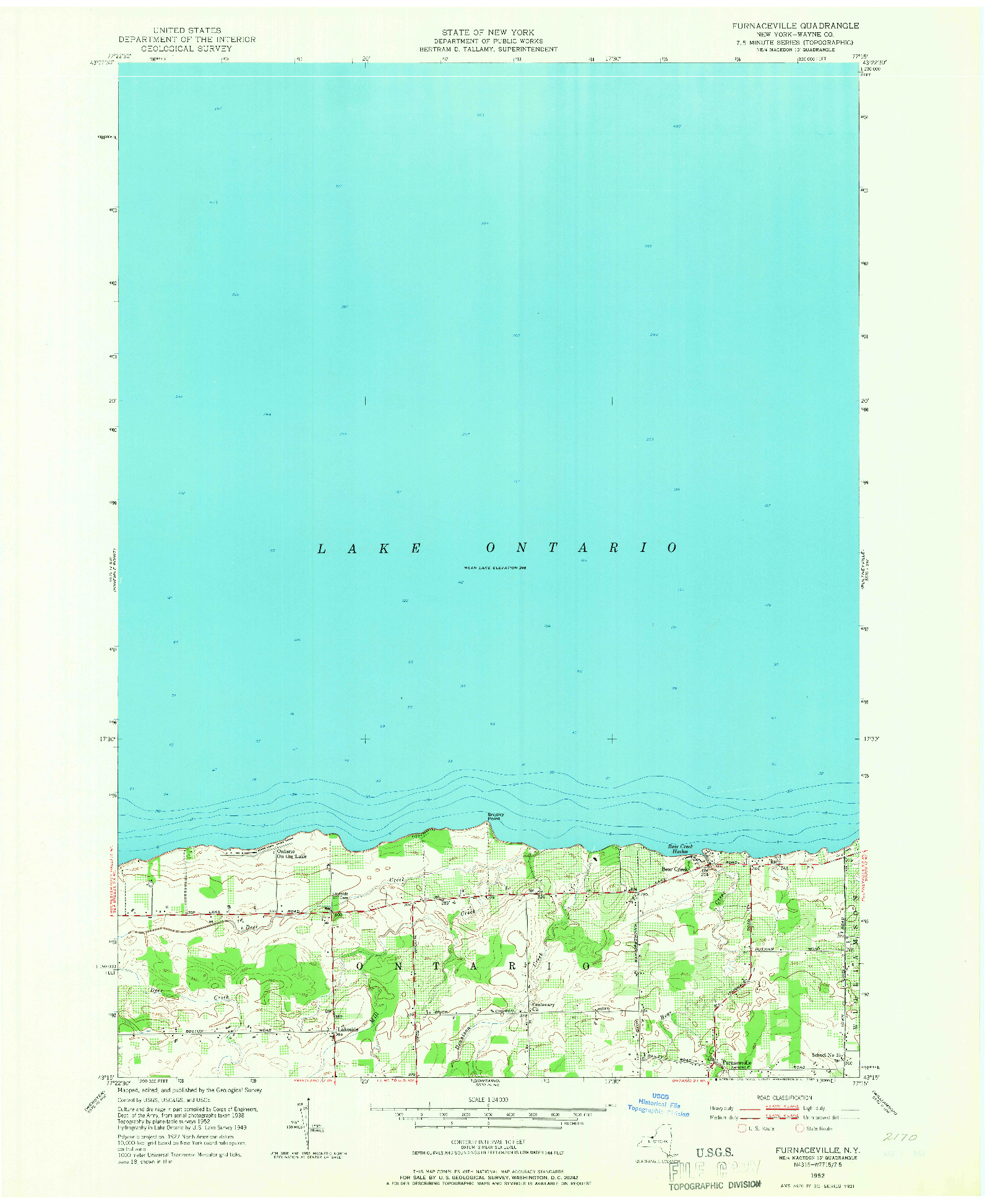 USGS 1:24000-SCALE QUADRANGLE FOR FURNACEVILLE, NY 1952