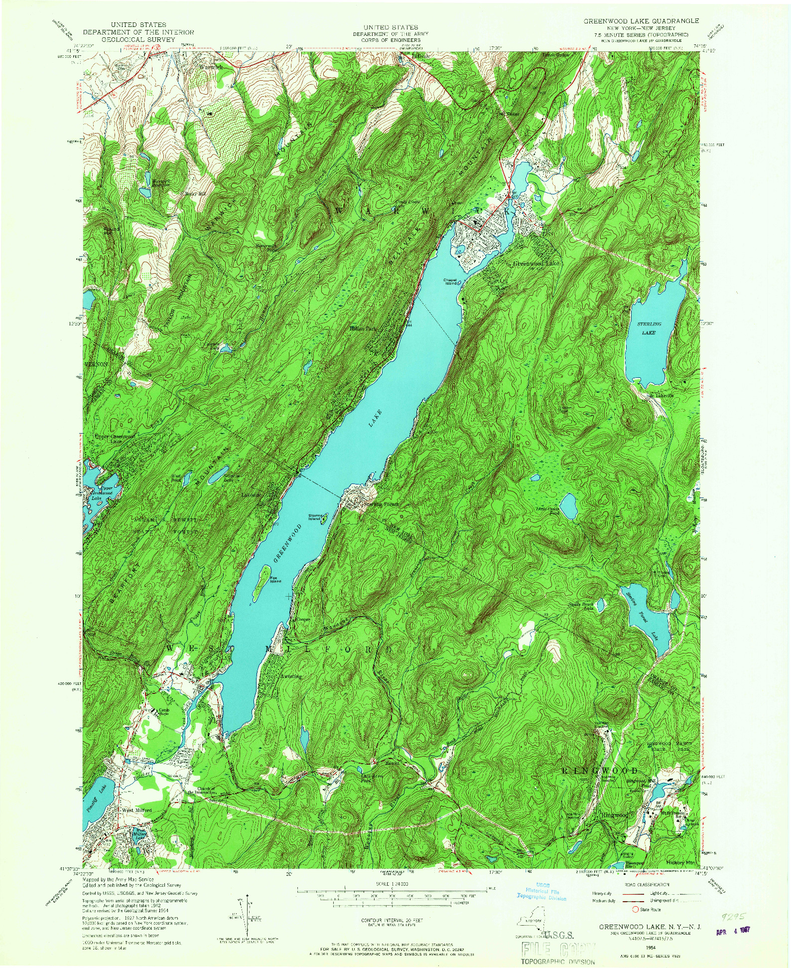 USGS 1:24000-SCALE QUADRANGLE FOR GREENWOOD LAKE, NY 1954