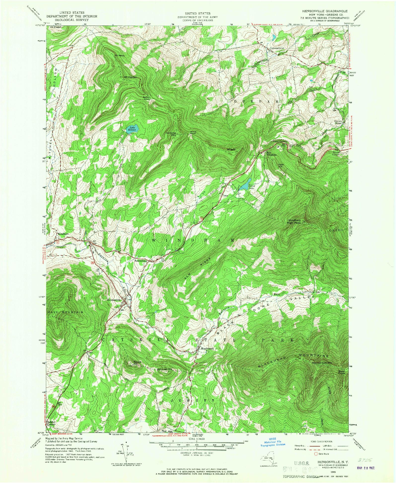 USGS 1:24000-SCALE QUADRANGLE FOR HENSONVILLE, NY 1945