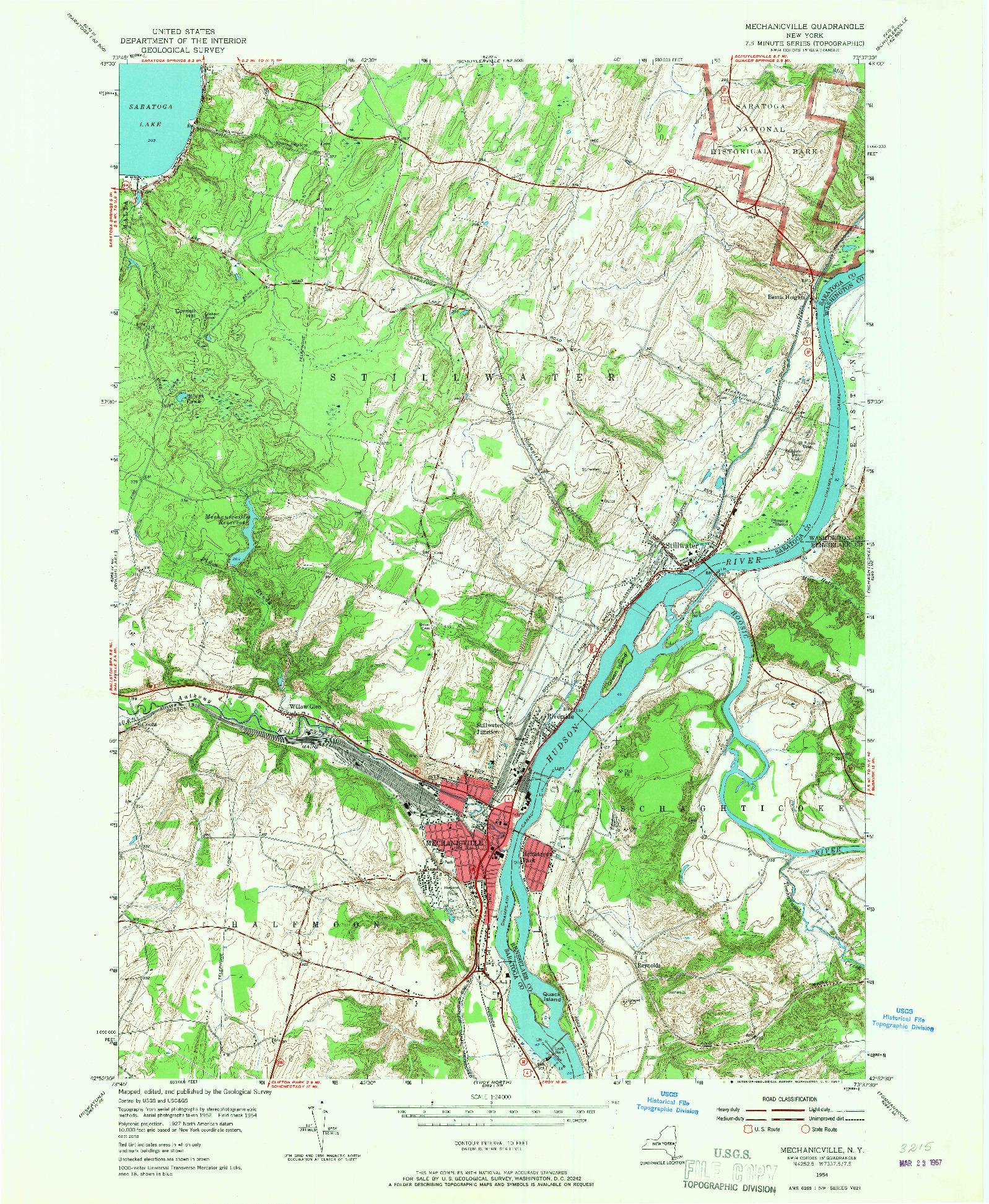 USGS 1:24000-SCALE QUADRANGLE FOR MECHANICVILLE, NY 1954