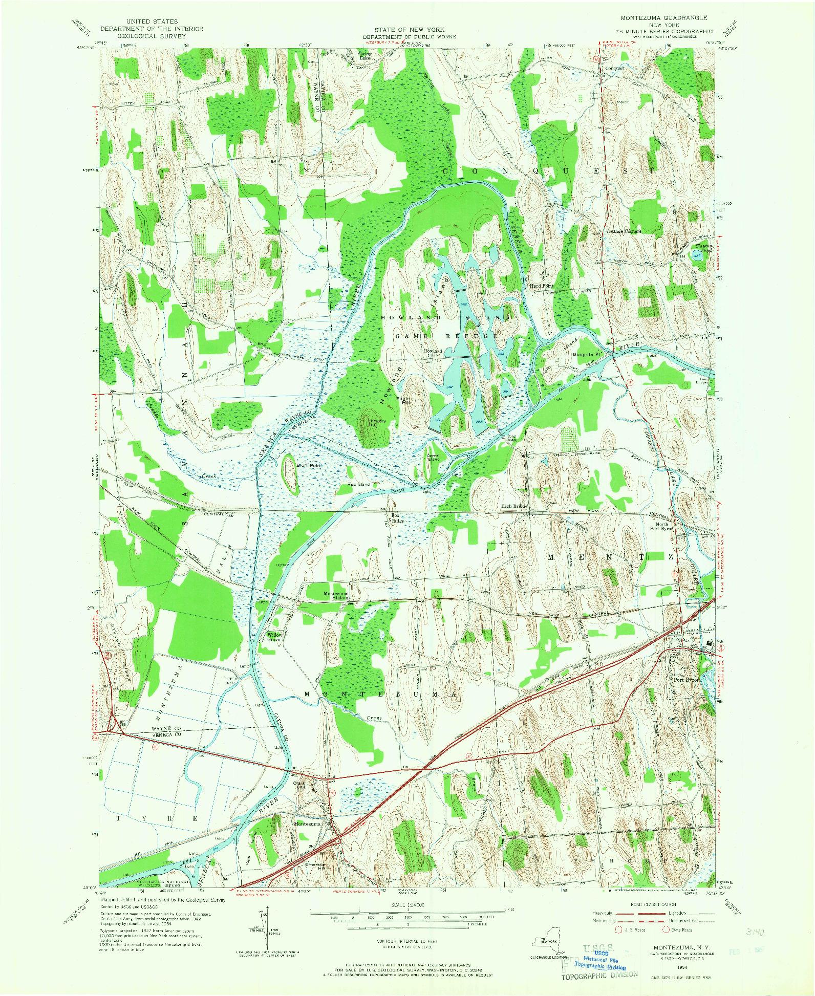 USGS 1:24000-SCALE QUADRANGLE FOR MONTEZUMA, NY 1954