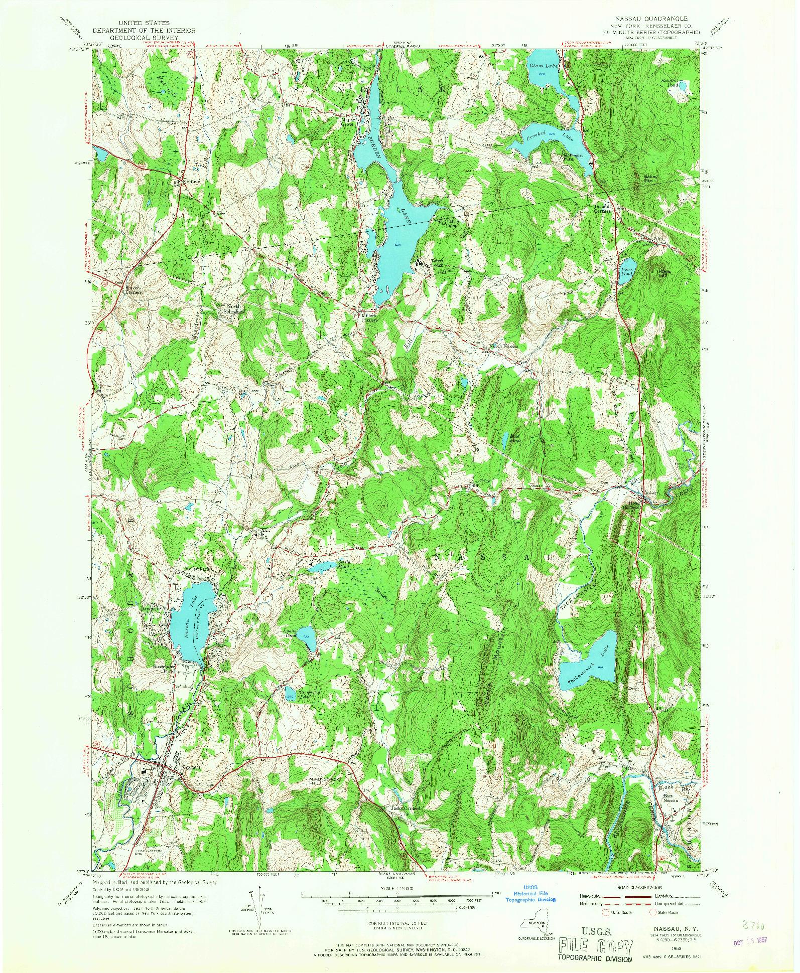 USGS 1:24000-SCALE QUADRANGLE FOR NASSAU, NY 1953