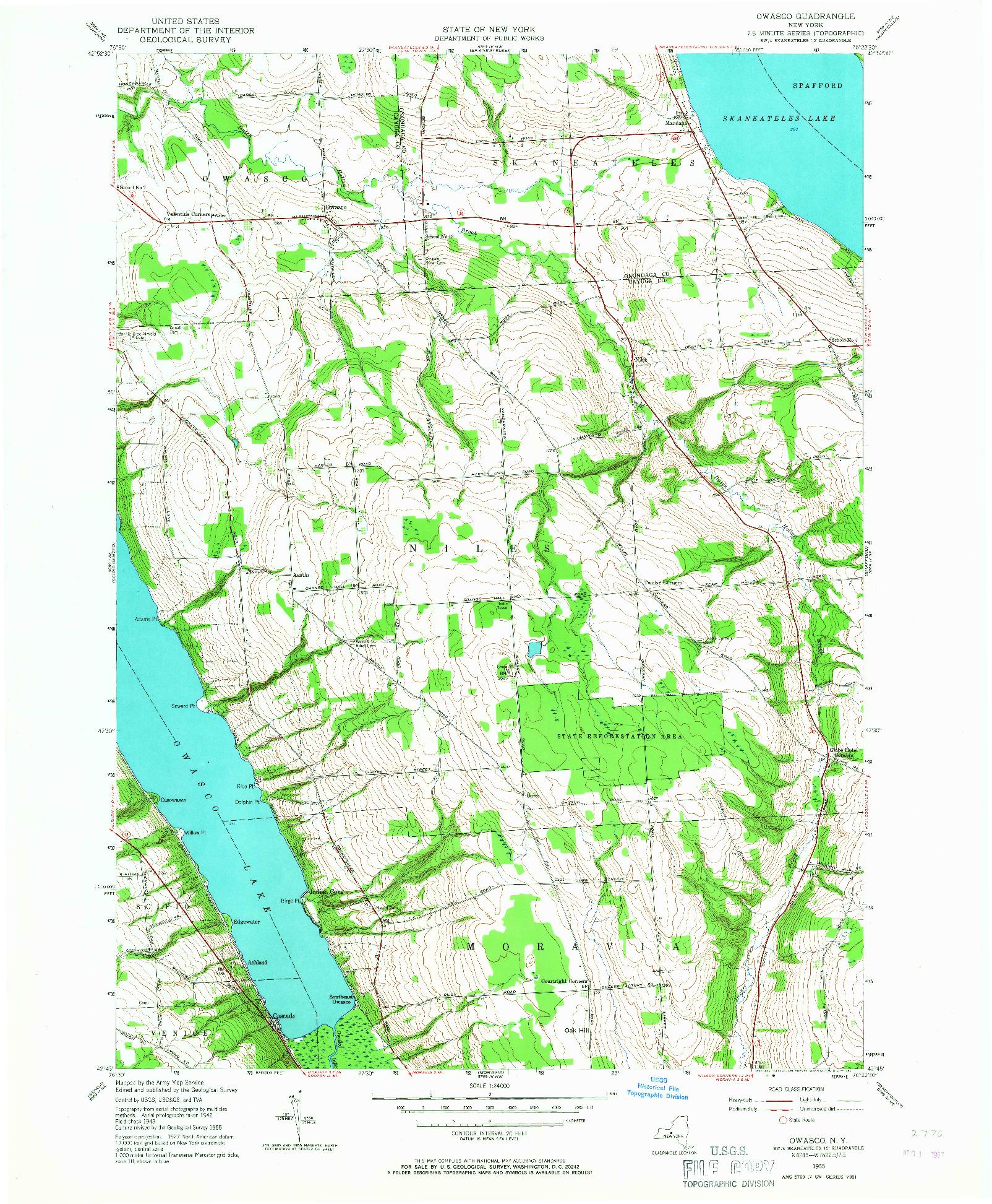 USGS 1:24000-SCALE QUADRANGLE FOR OWASCO, NY 1955